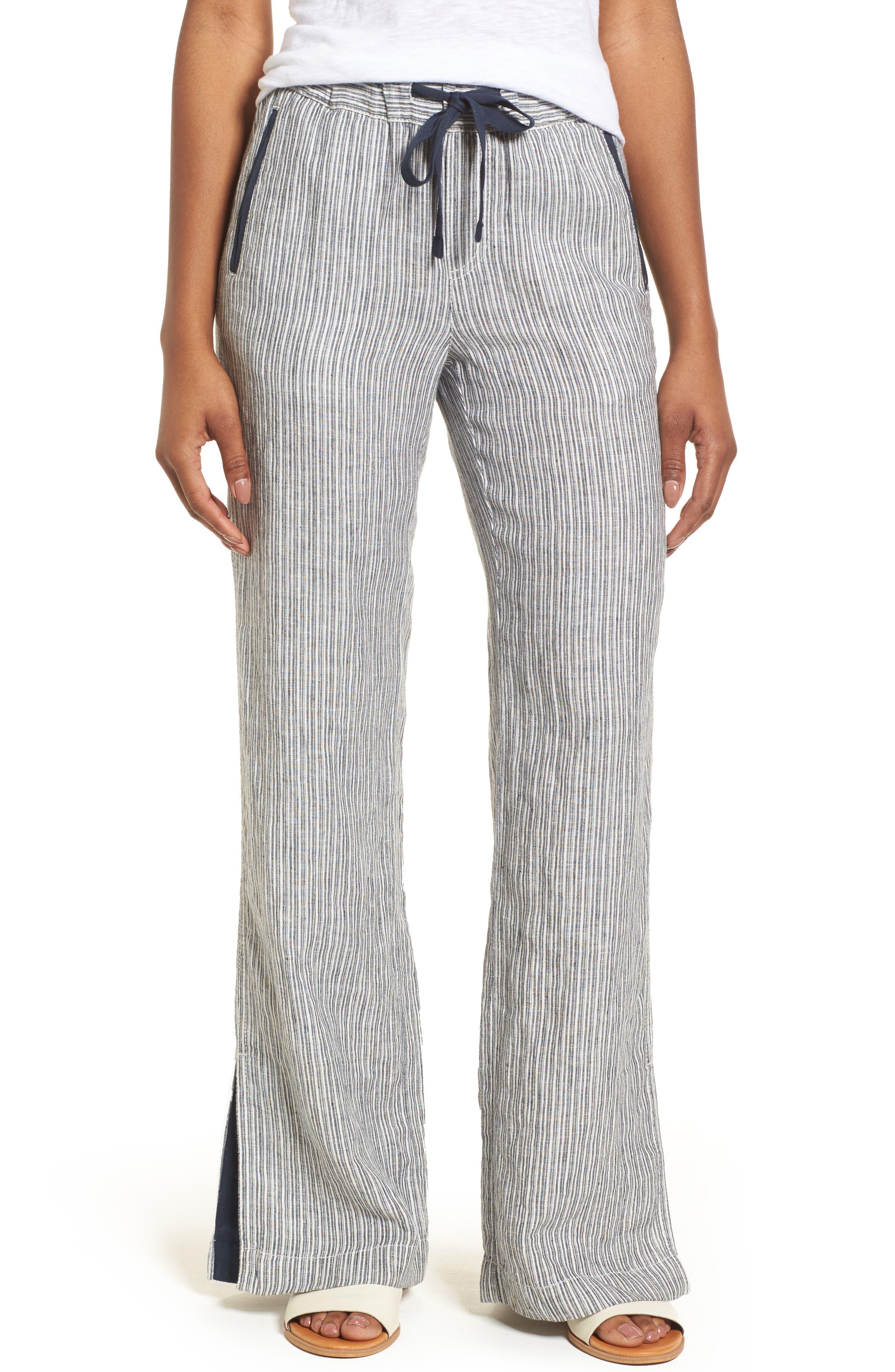 Linen Track Pants,                             Main thumbnail 5, color,