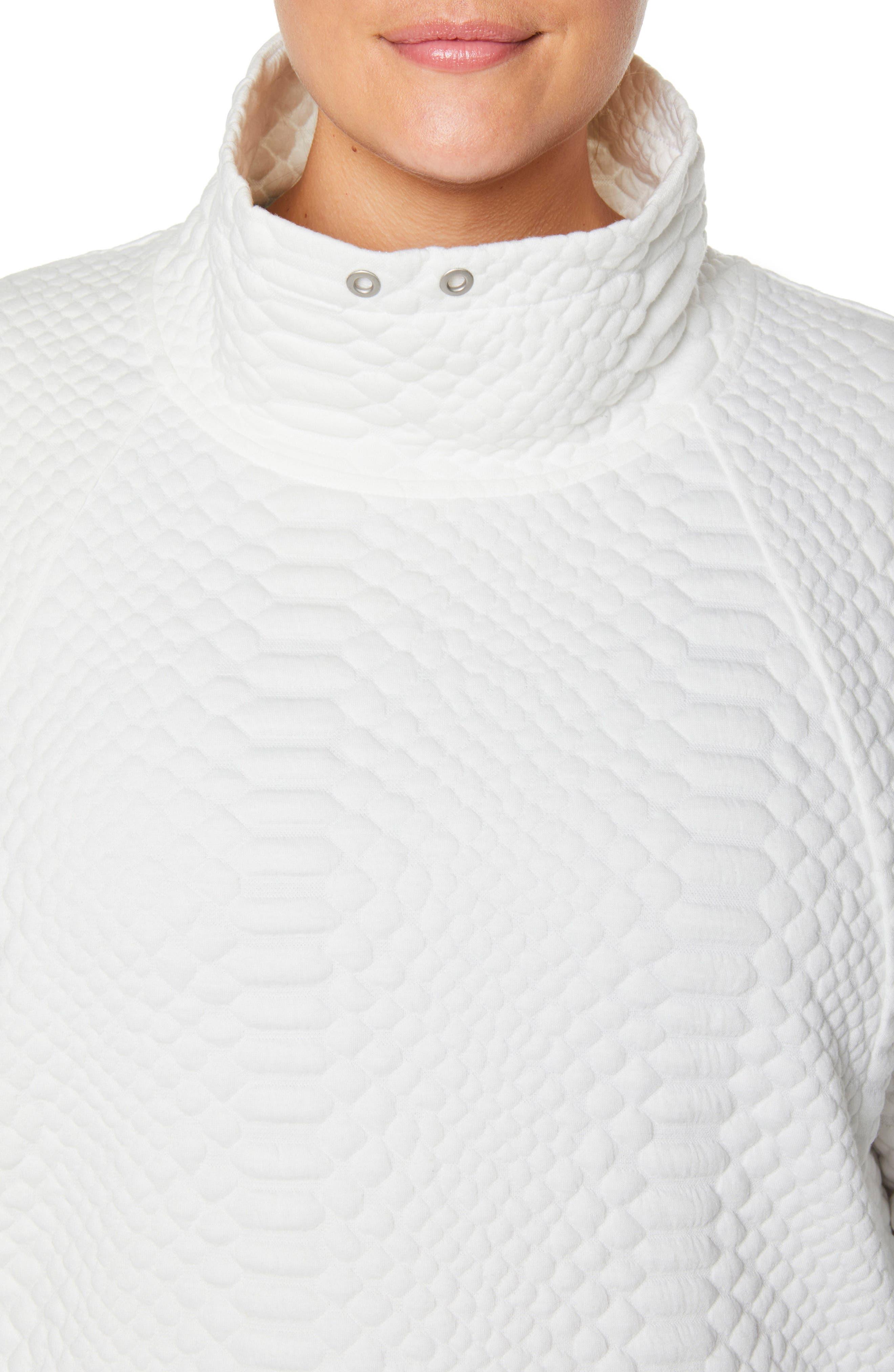 Saturday Mock Neck Pullover,                             Alternate thumbnail 6, color,                             WINTER WHITE
