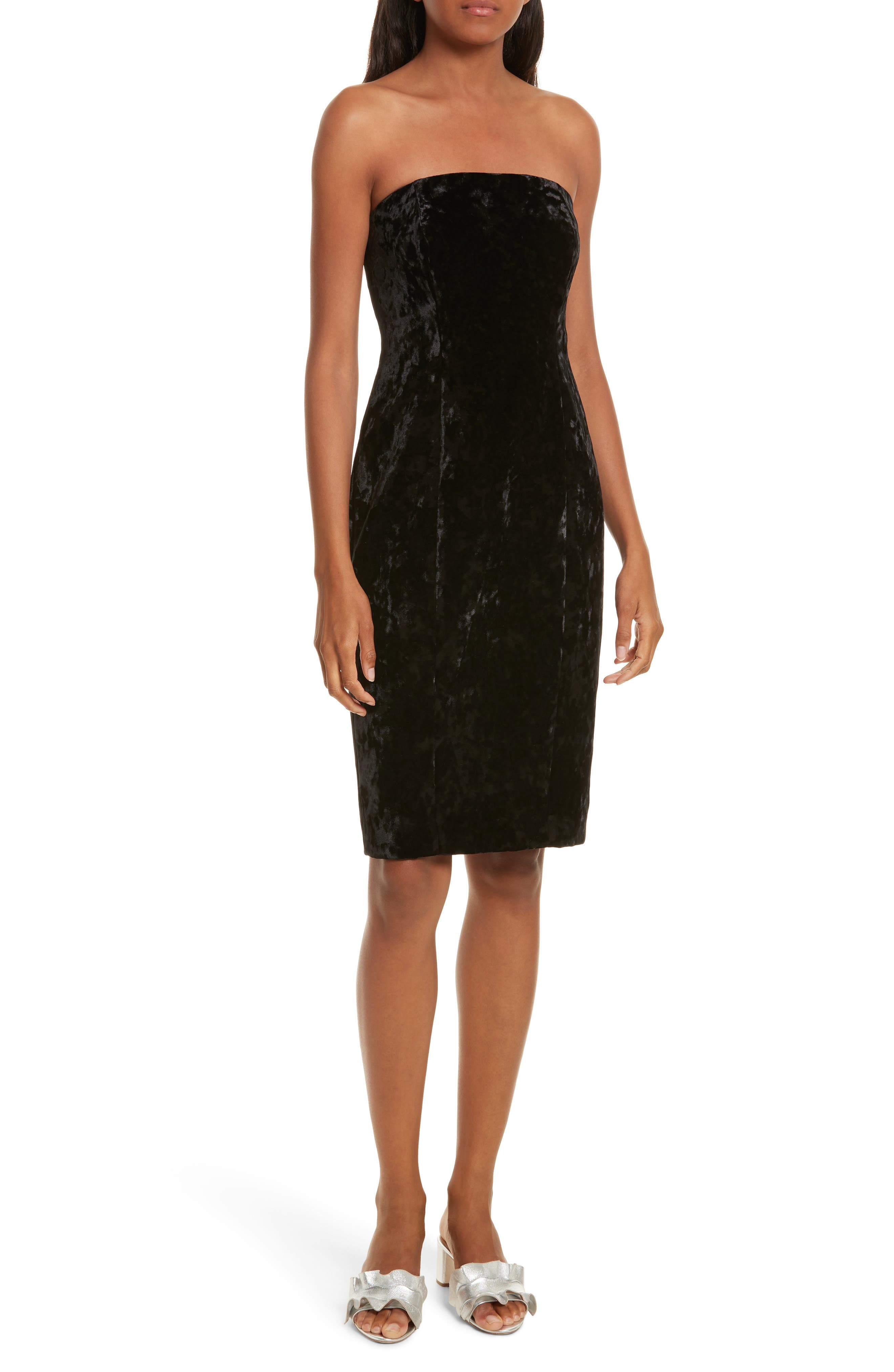 Strapless Velvet Dress,                             Main thumbnail 1, color,                             001