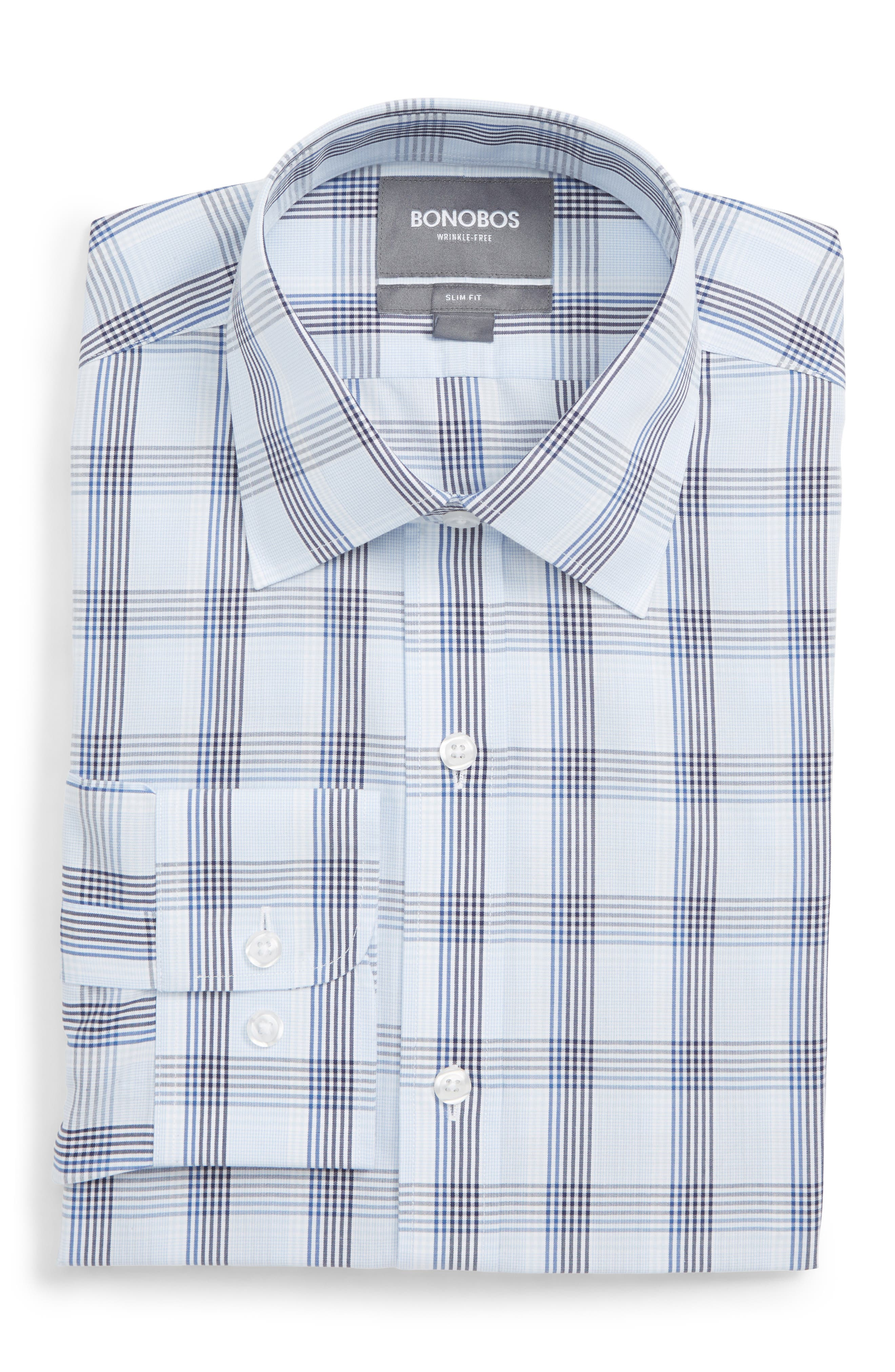 Bonobos Daily Grind Slim Fit Plaid Dress Shirt, Blue