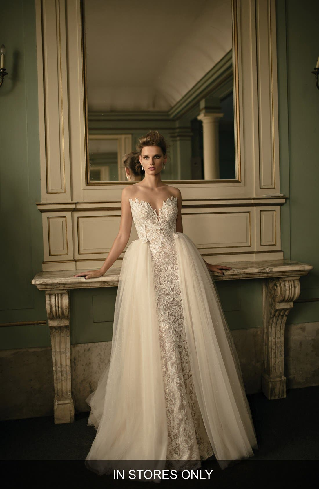 Beaded Lace & Tulle Ballgown,                             Main thumbnail 1, color,                             900