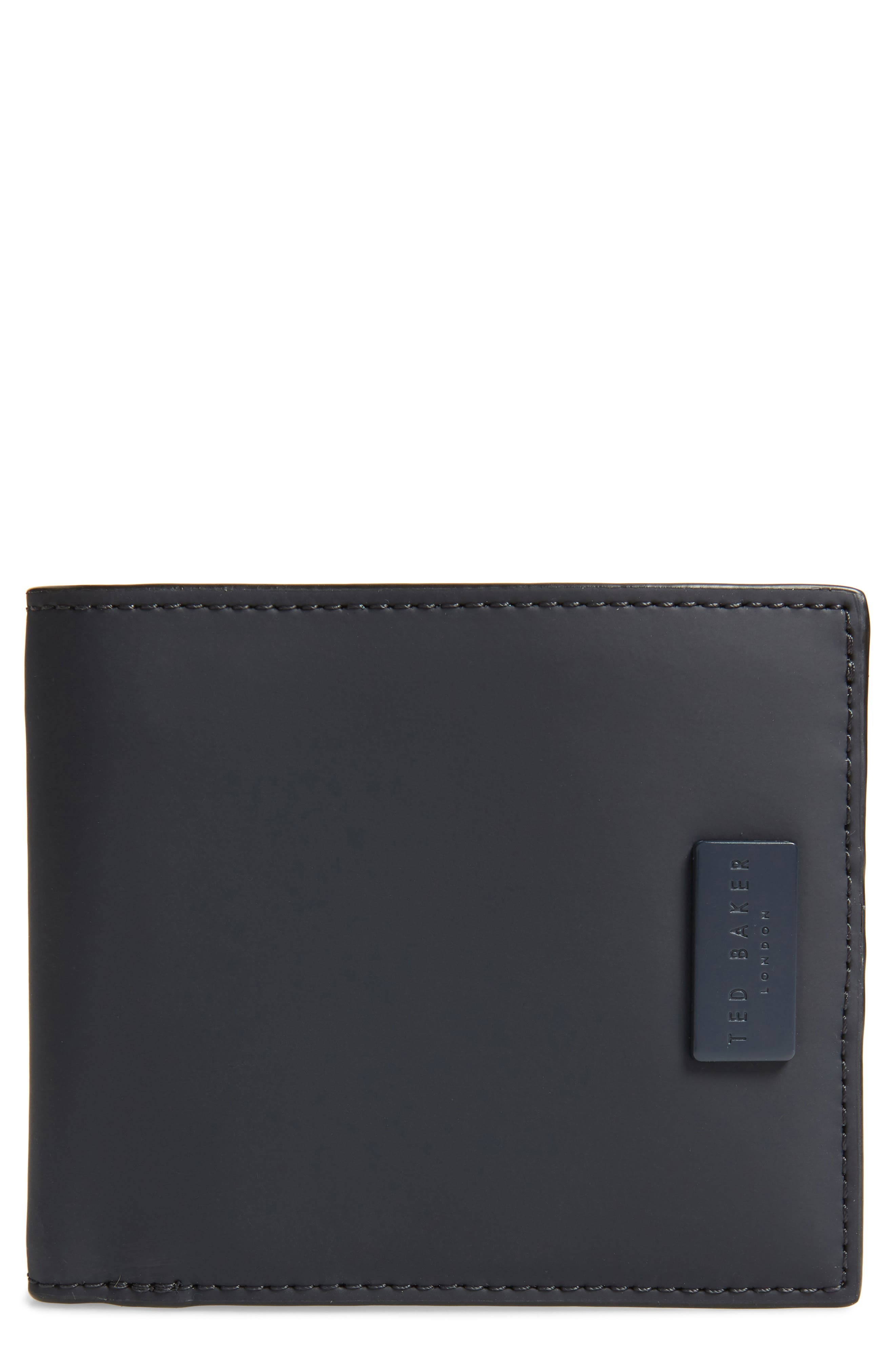 TED BAKER LONDON,                             Rubber Leather Bifold Wallet,                             Main thumbnail 1, color,                             NAVY