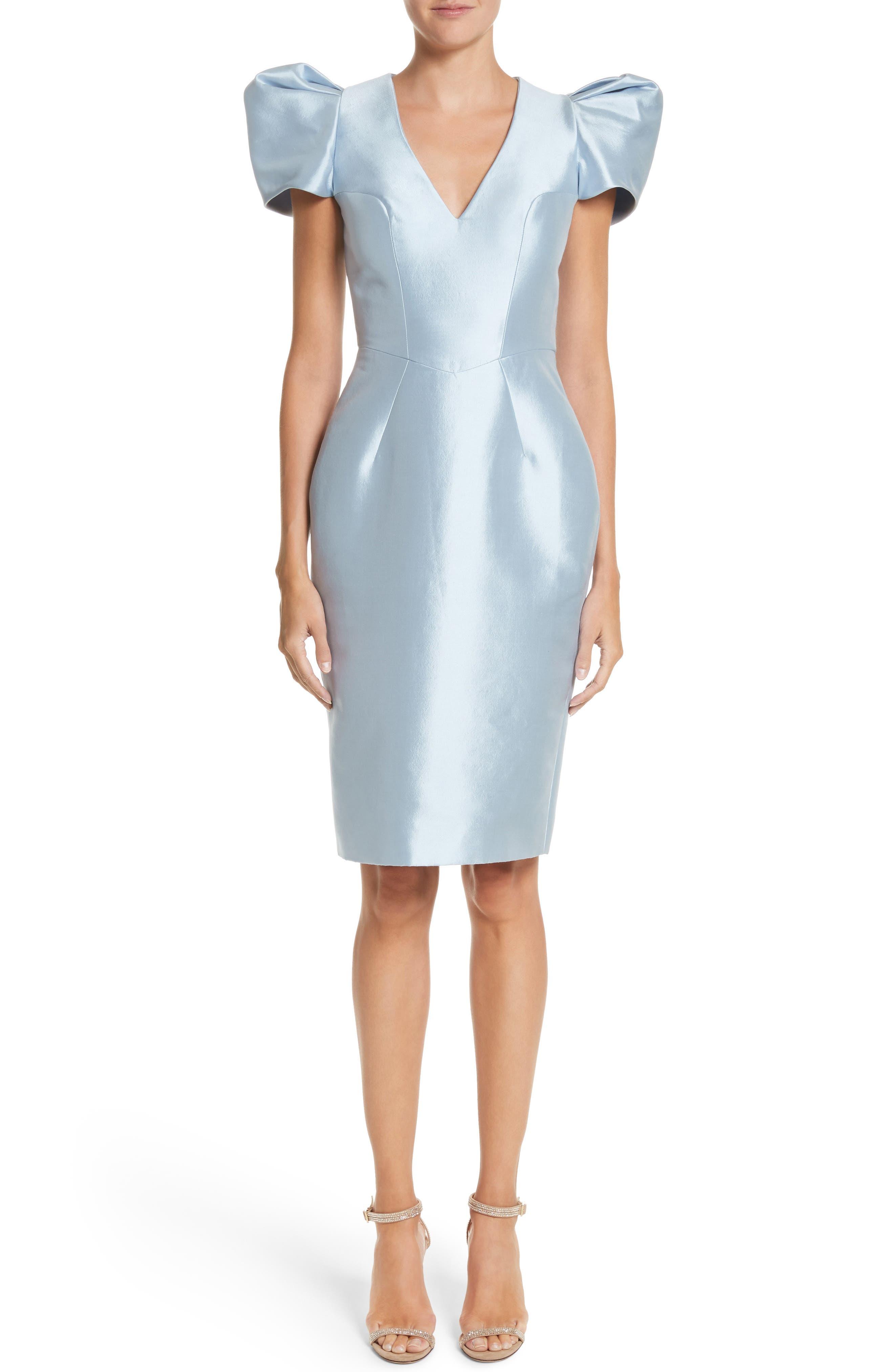 Puff Sleeve Silk Blend Sheath Dress,                         Main,                         color, 450