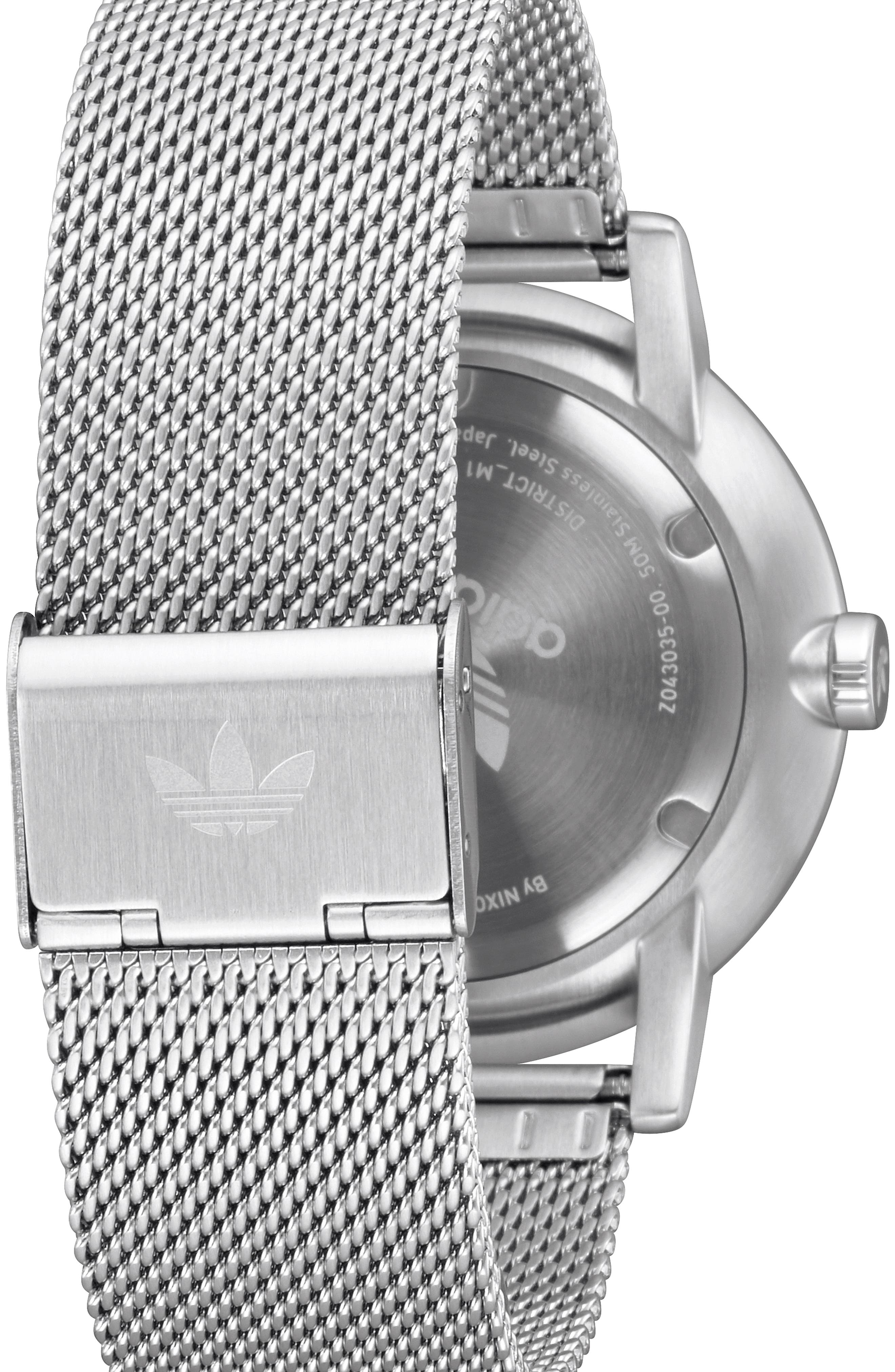 District Milanese Bracelet Watch, 40mm,                             Alternate thumbnail 2, color,                             SILVER/ PINK/ SILVER