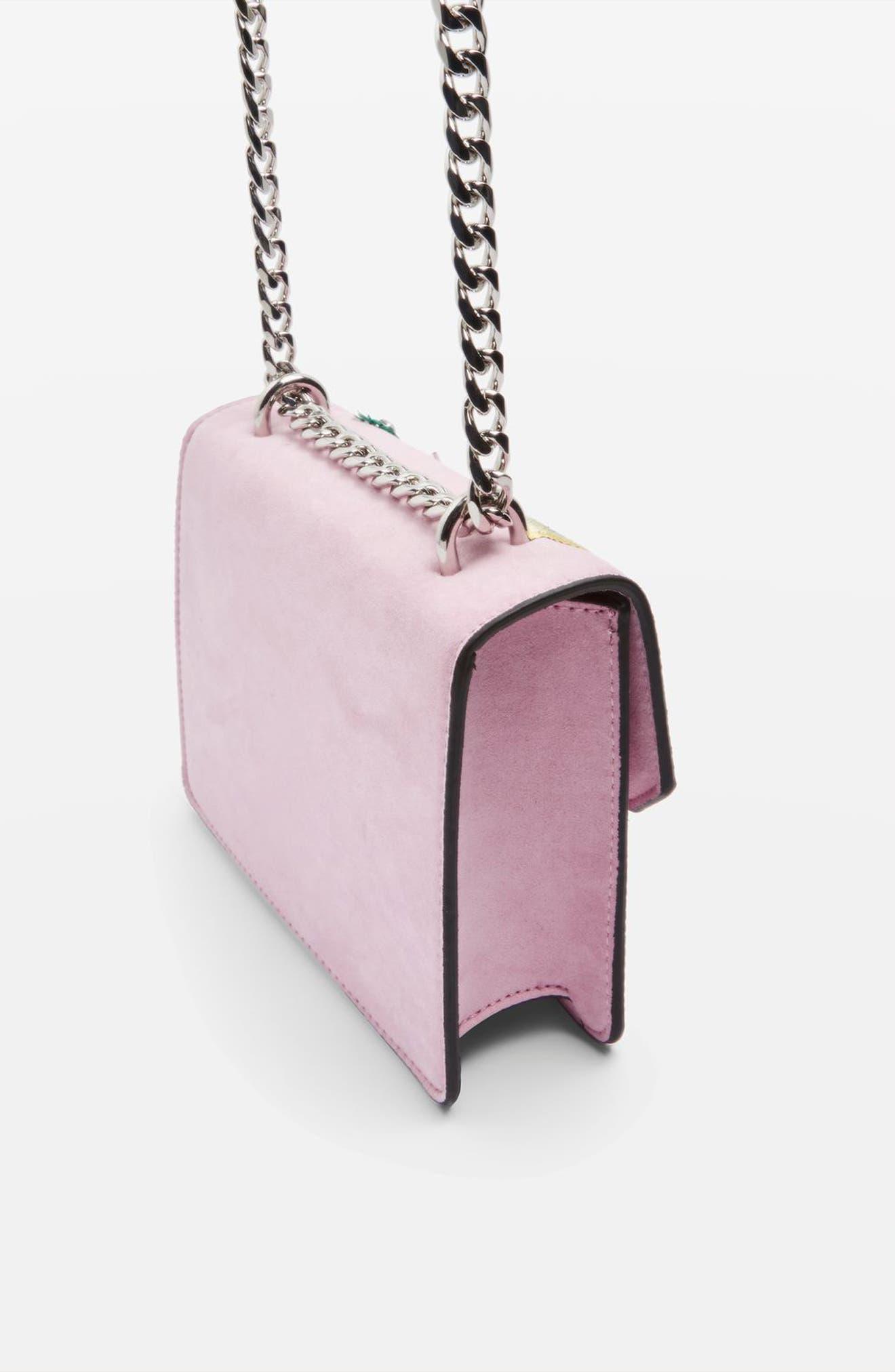 Embellished Faux Suede Crossbody Bag,                             Alternate thumbnail 3, color,                             650