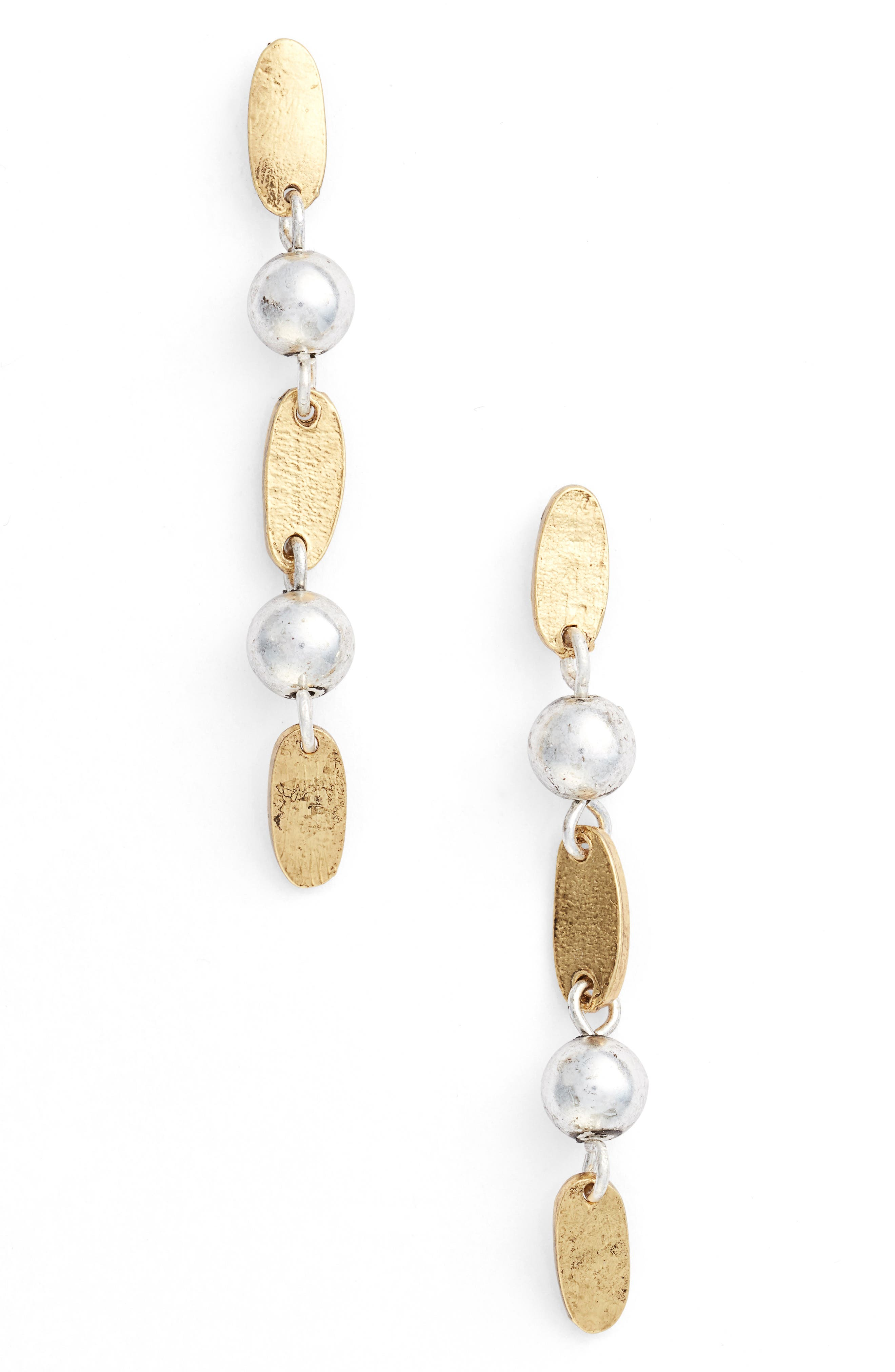 Two-Tone Linear Earrings,                         Main,                         color, GOLD/SILVER MIX