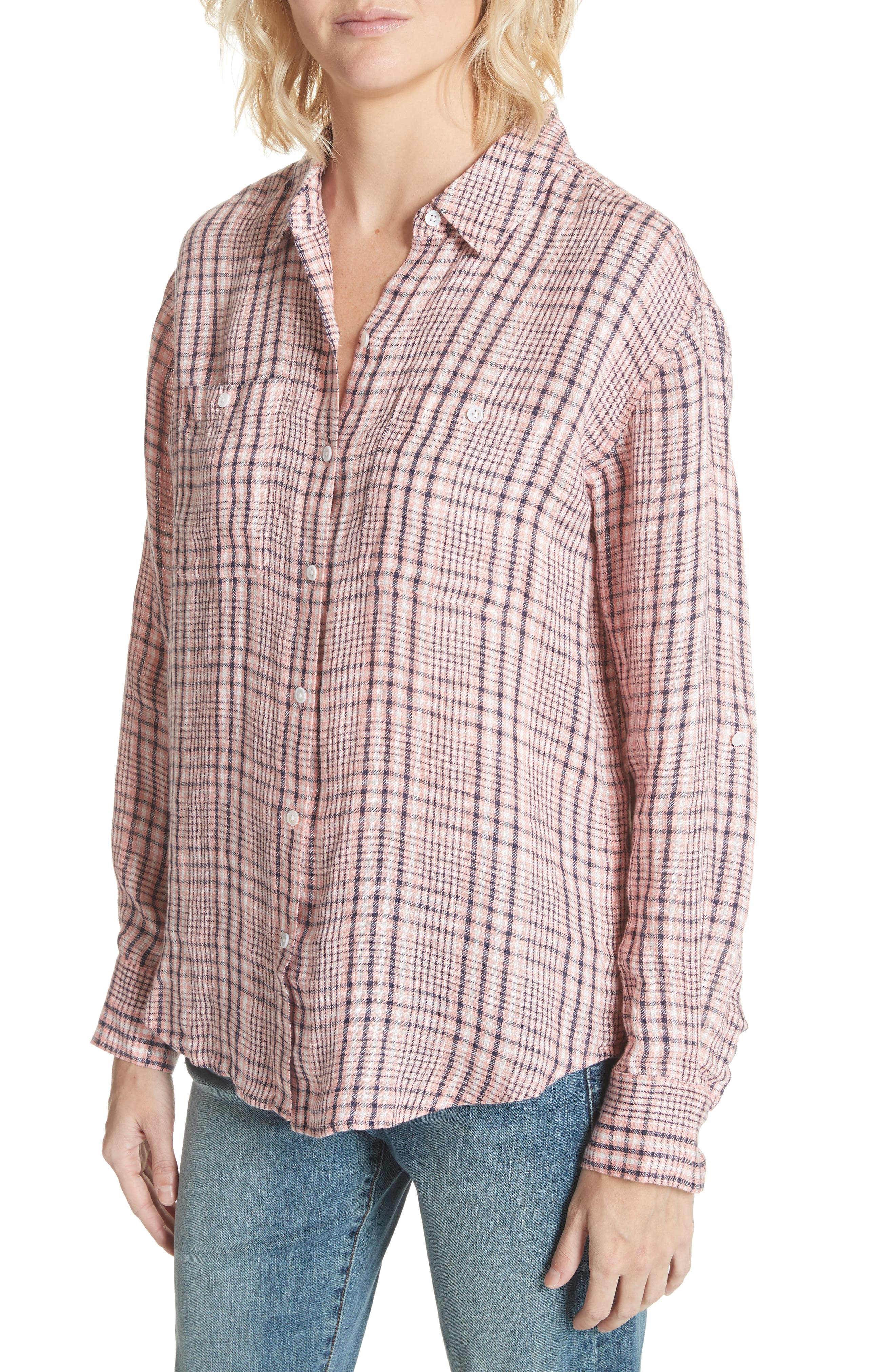 Lidelle Plaid Linen Shirt,                             Alternate thumbnail 4, color,                             658
