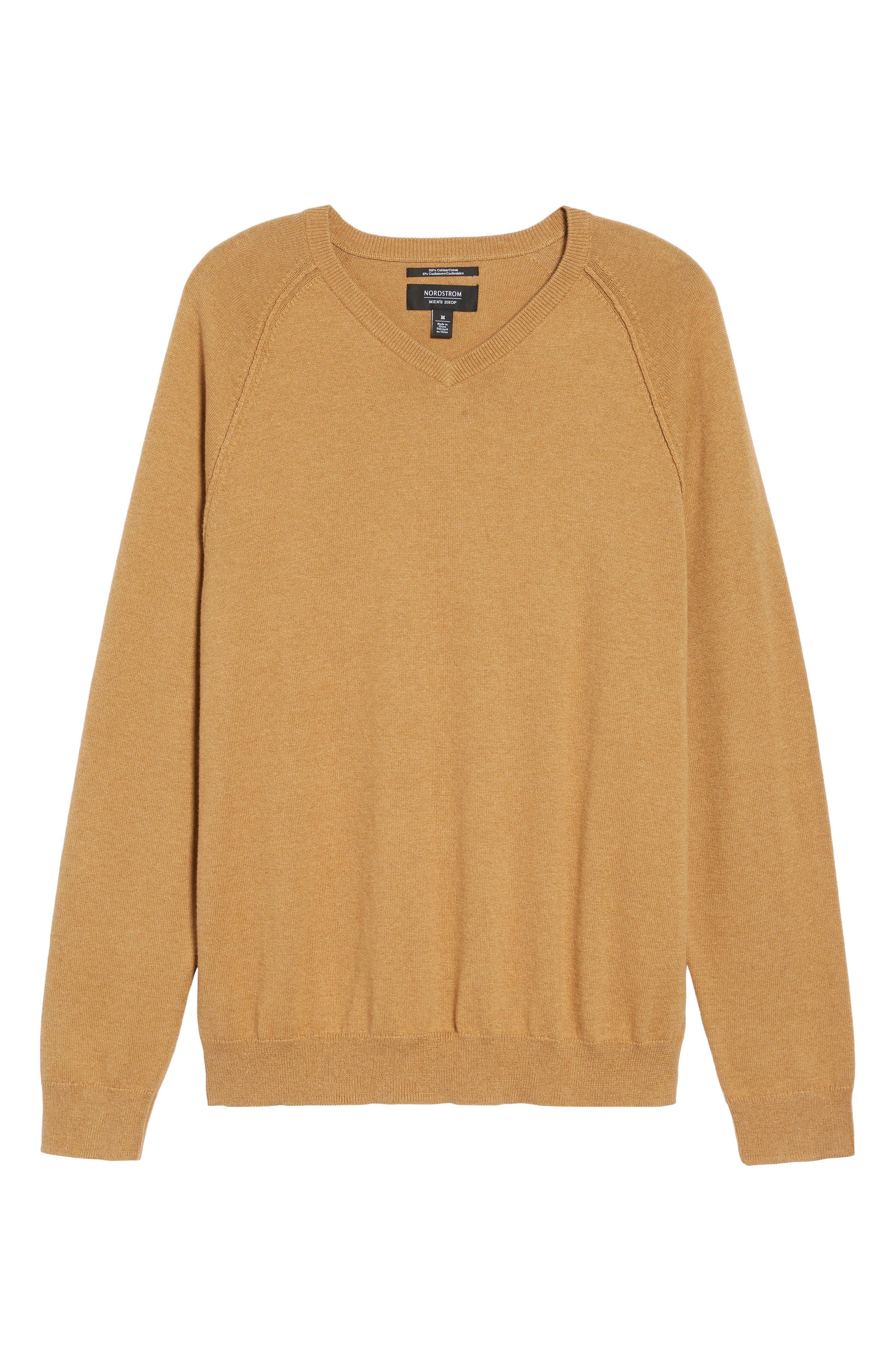 Saddle Shoulder Cotton & Cashmere V-Neck Sweater,                             Alternate thumbnail 45, color,