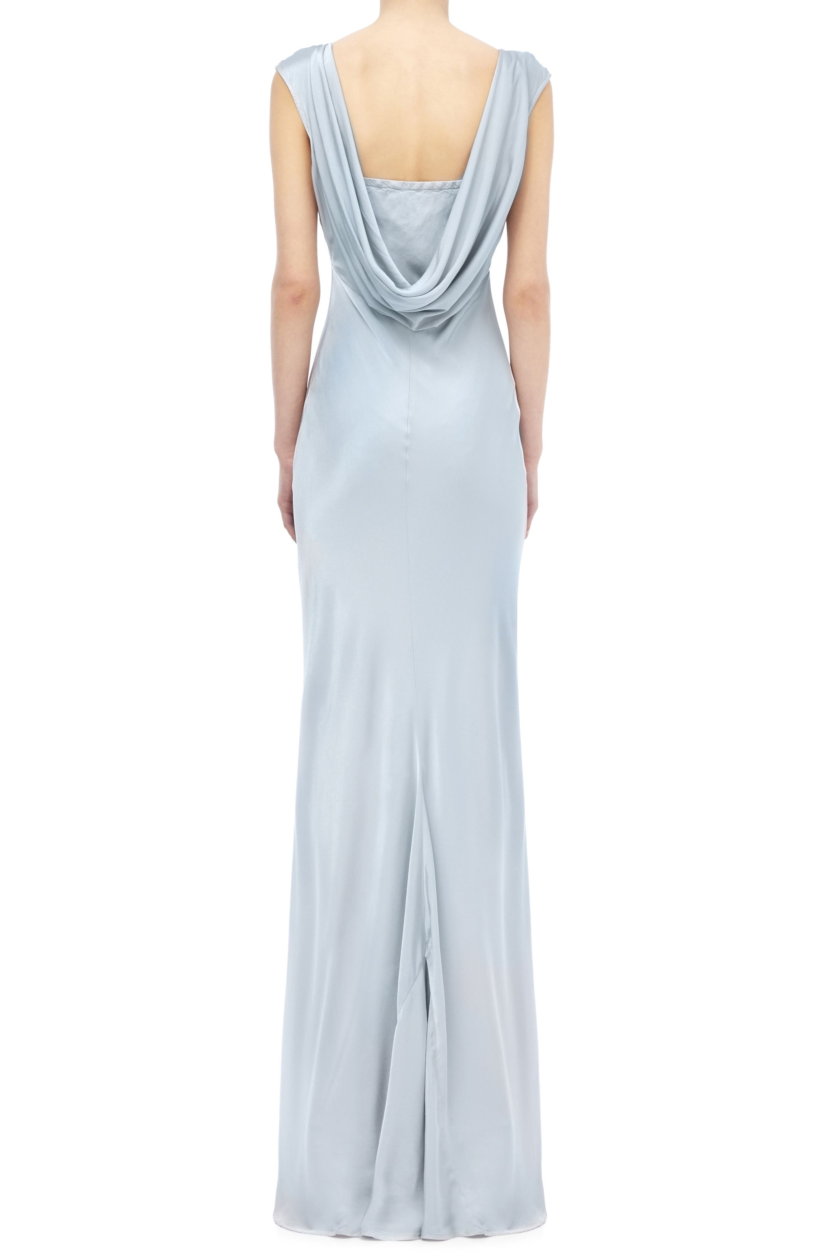 Salma Cowl Back Gown,                             Alternate thumbnail 2, color,                             SILVER LAKE