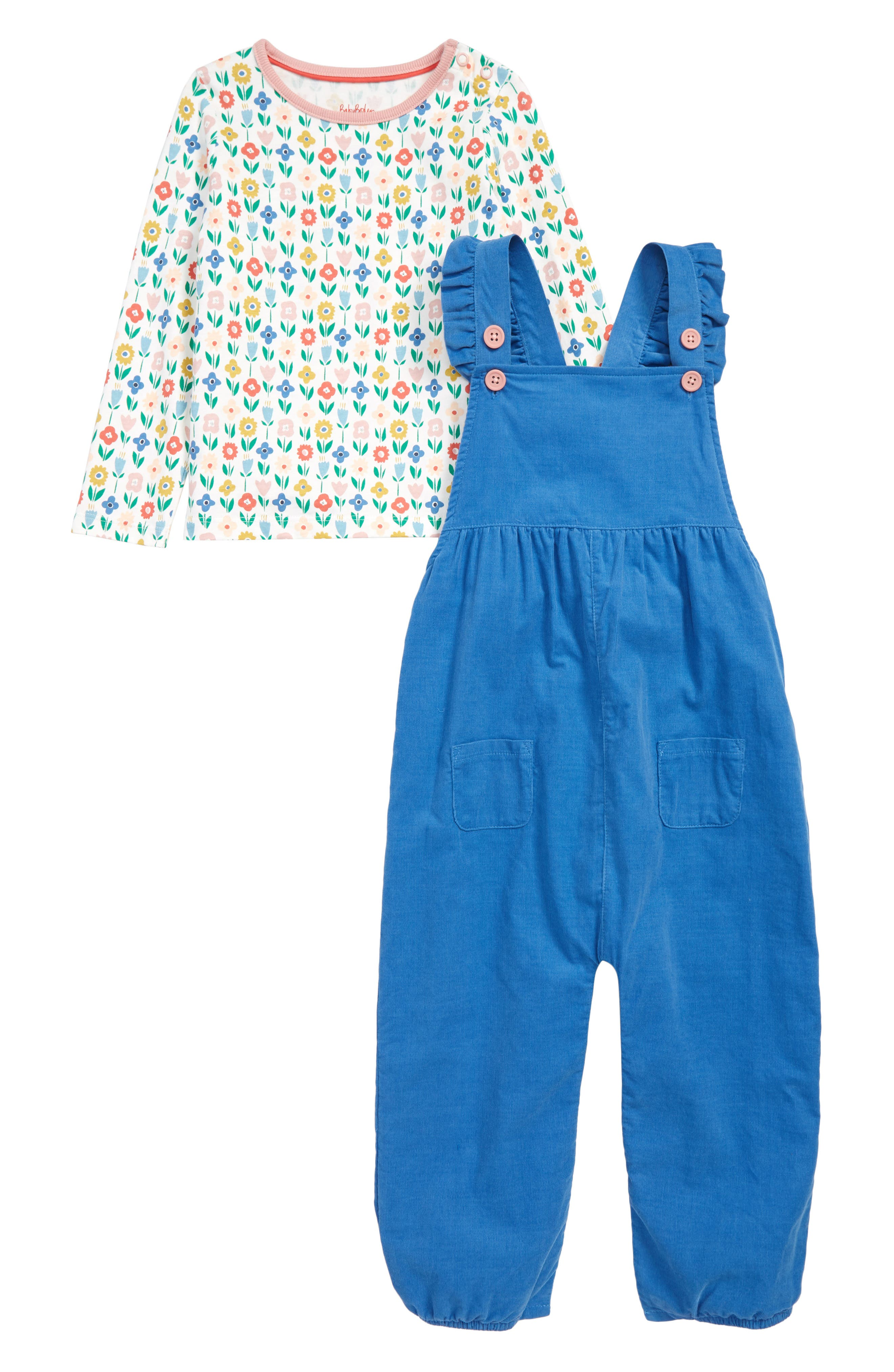 MINI BODEN Flower Patch Tee & Frilly Corduroy Overalls Set, Main, color, 400