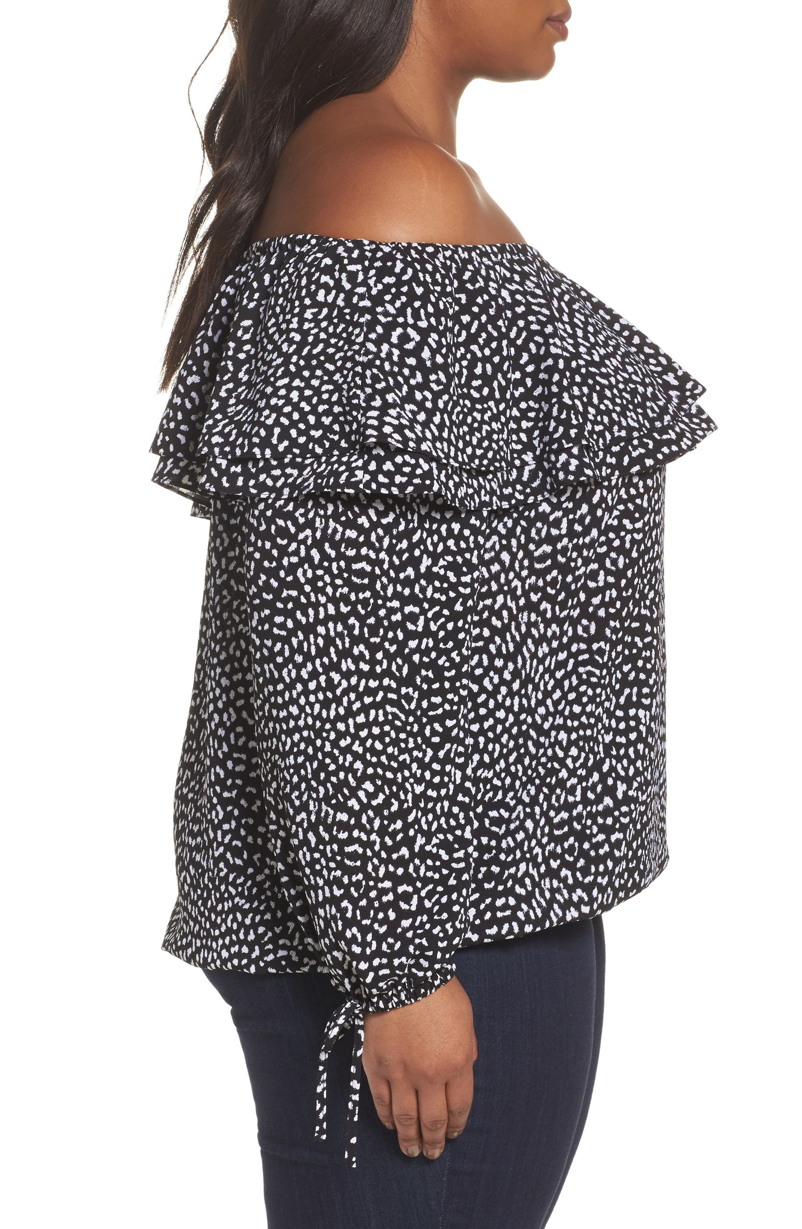 Cheetah Print Off the Shoulder Top,                             Alternate thumbnail 3, color,