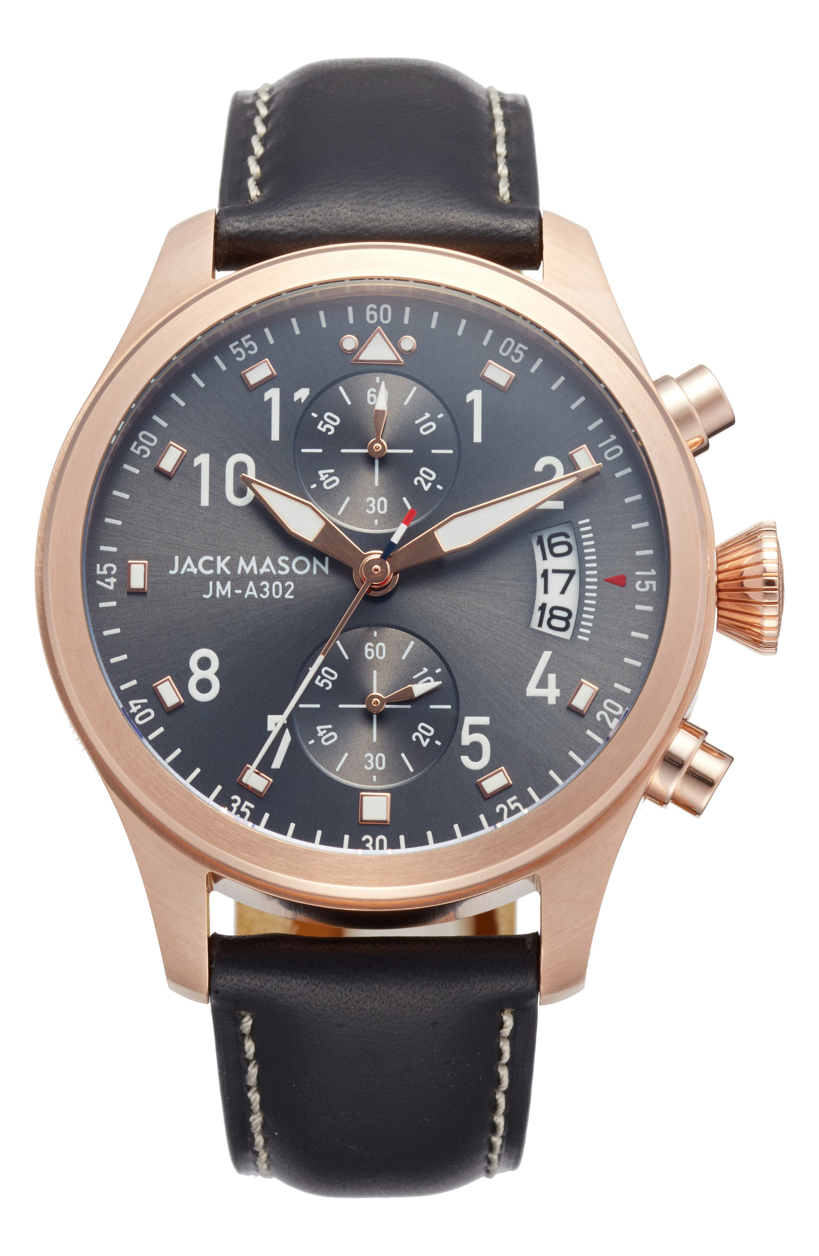 Aviation Chronograph Leather Strap Watch, 45mm,                             Main thumbnail 1, color,                             001