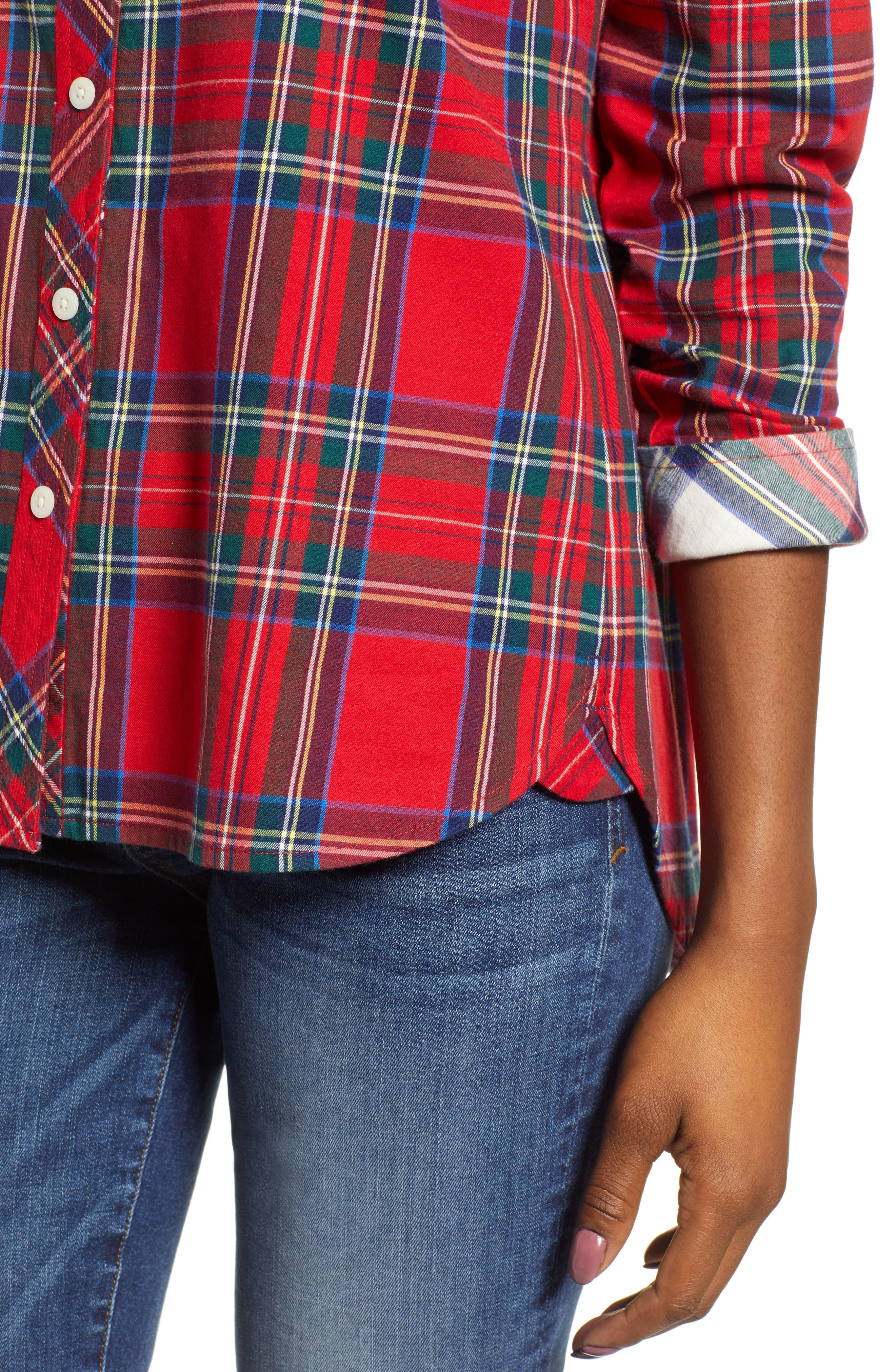 Morgan Jolly Plaid Flannel Shirt,                             Alternate thumbnail 4, color,                             600