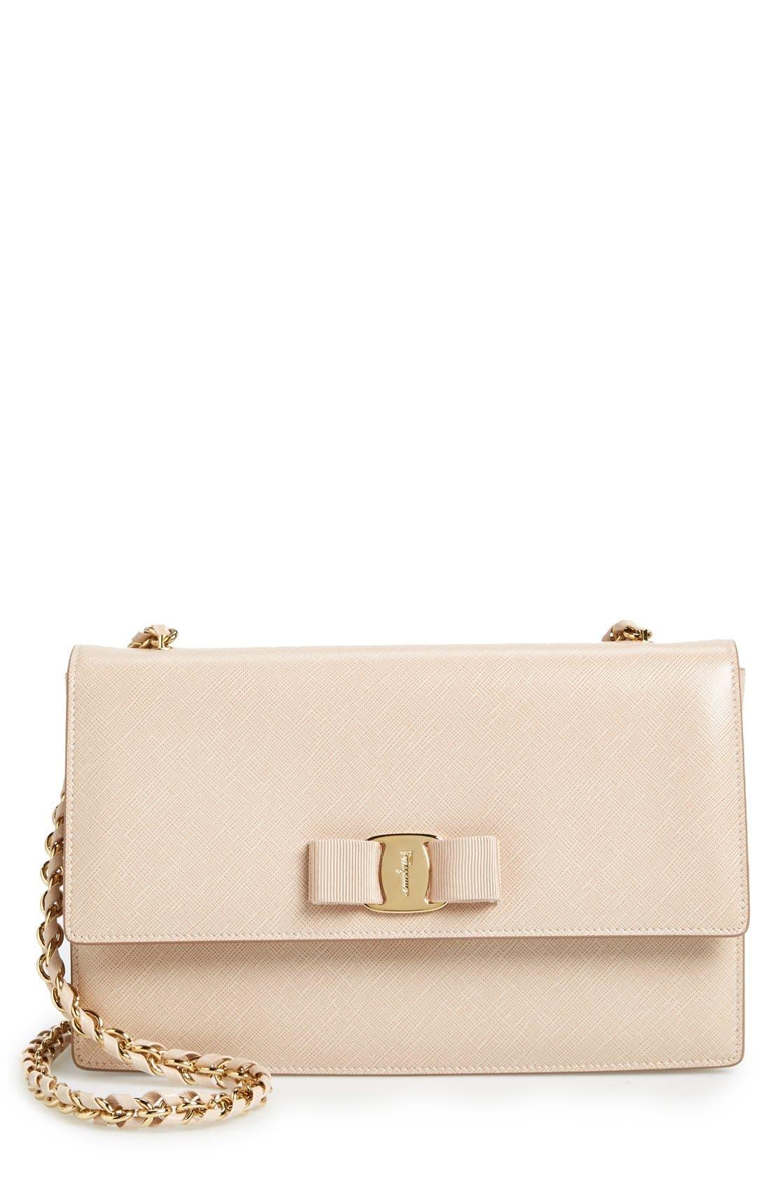 Saffiano Leather Shoulder Bag,                             Main thumbnail 1, color,                             250