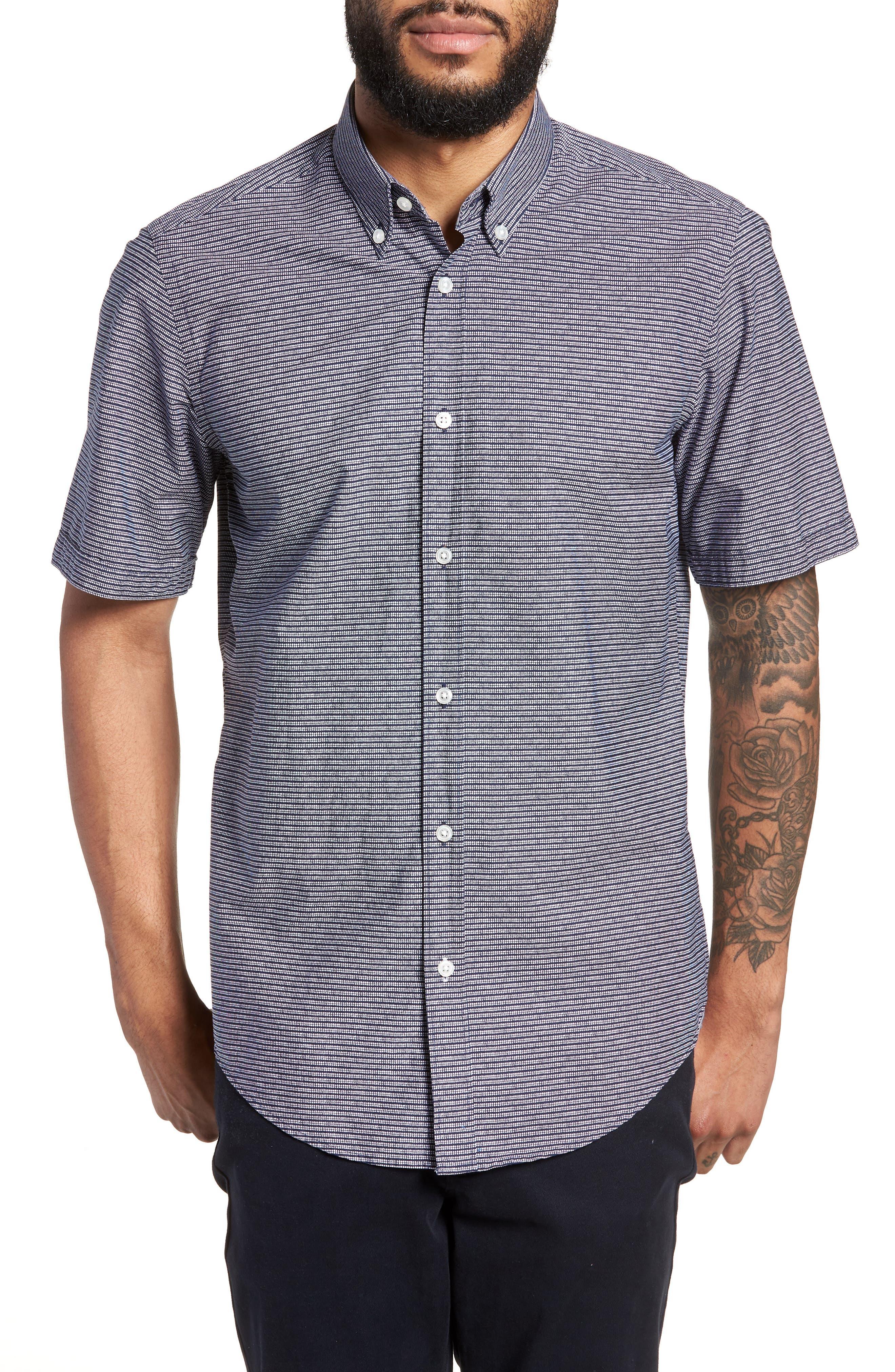 Lodi Stripe Sport Shirt,                         Main,                         color, BLUE