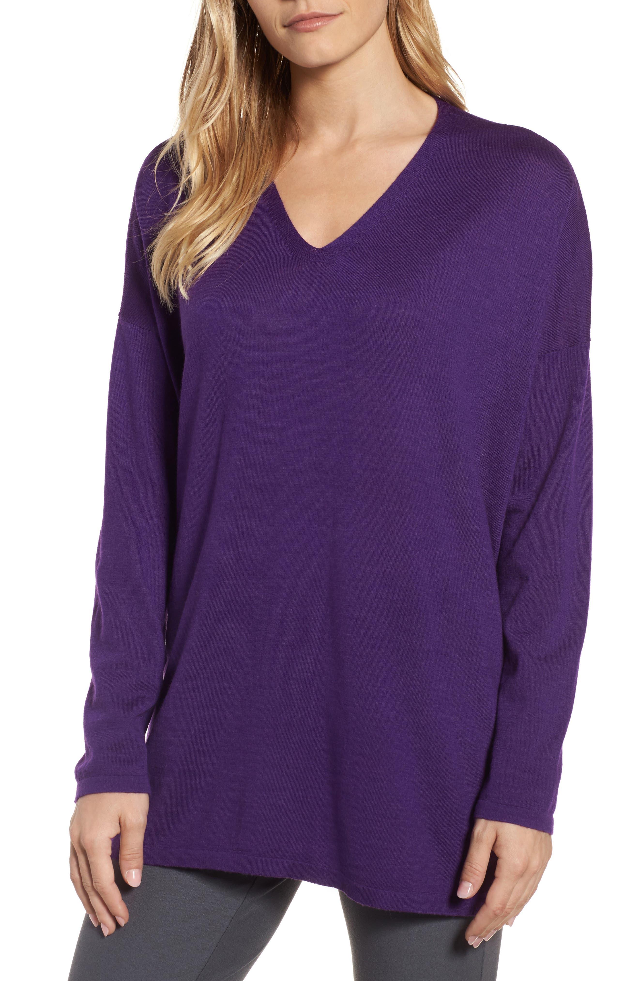 Eileen Fisher Merino Wool Tunic Sweater, Purple