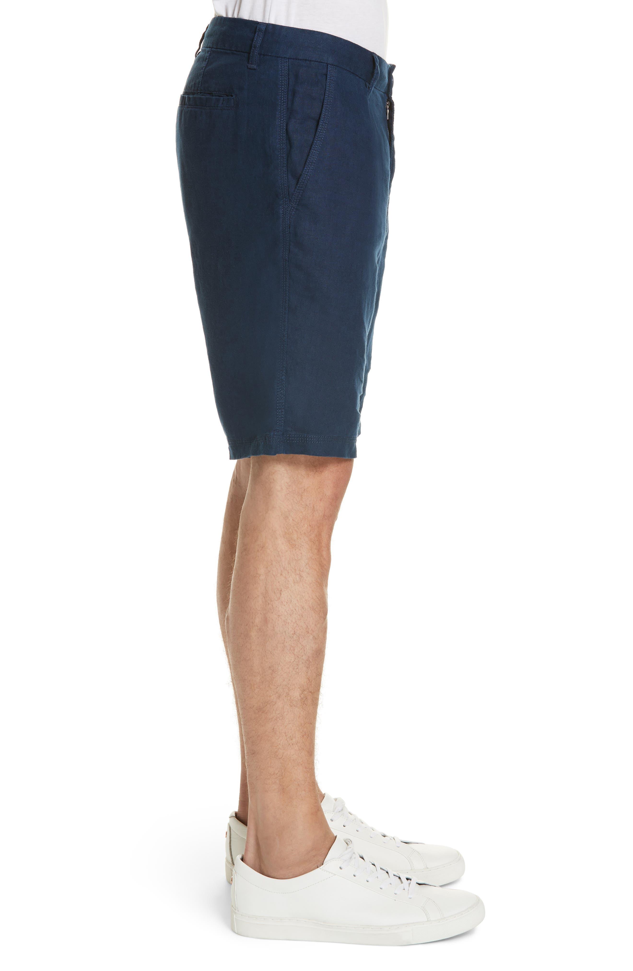 Austin Linen Shorts,                             Alternate thumbnail 3, color,                             DEEP NAVY