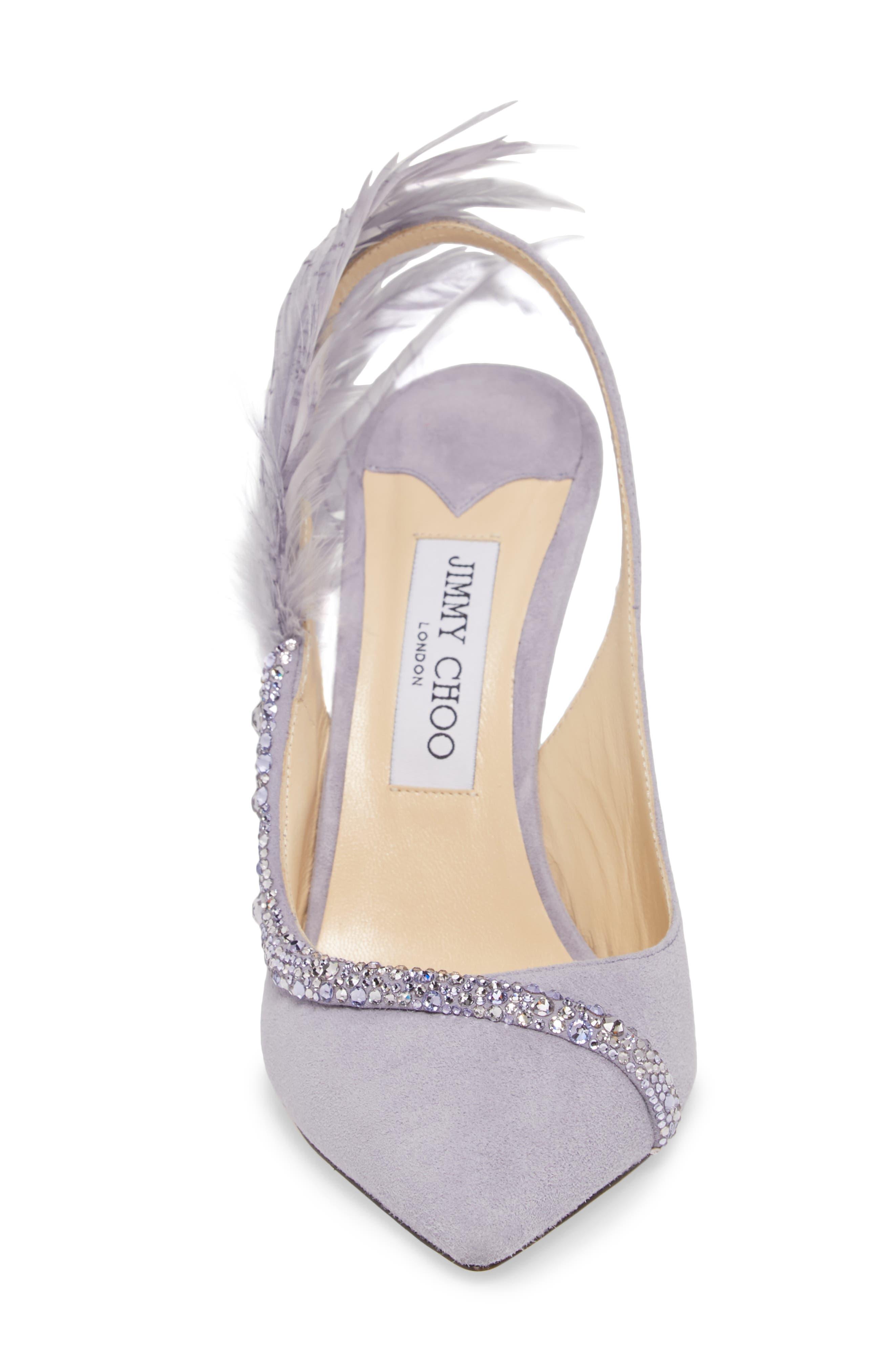 Tacey Crystal & Feather Embellished Slingback Sandal,                             Alternate thumbnail 4, color,                             530