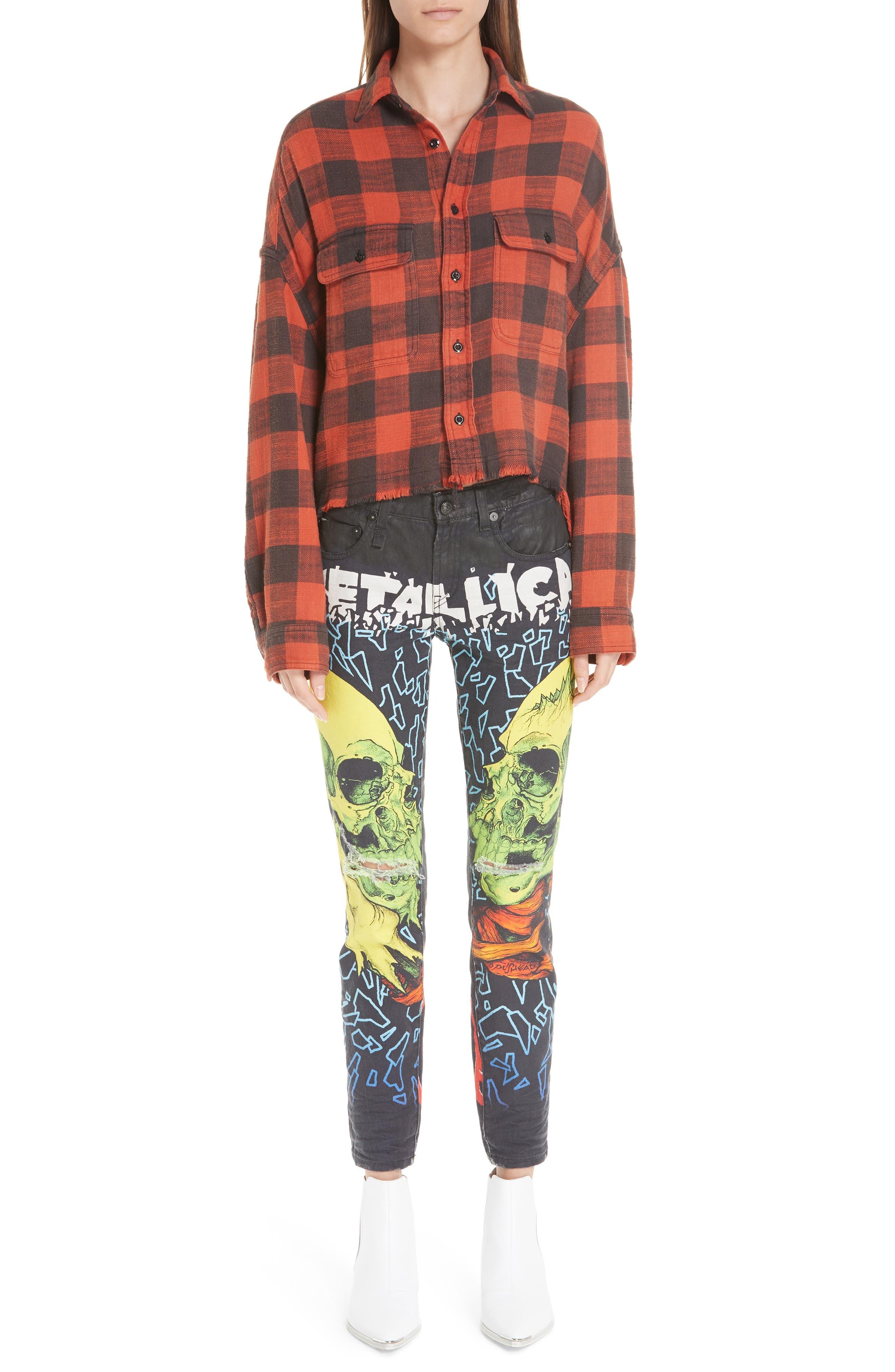 R13,                             Kate Print Skinny Jeans,                             Alternate thumbnail 7, color,                             001