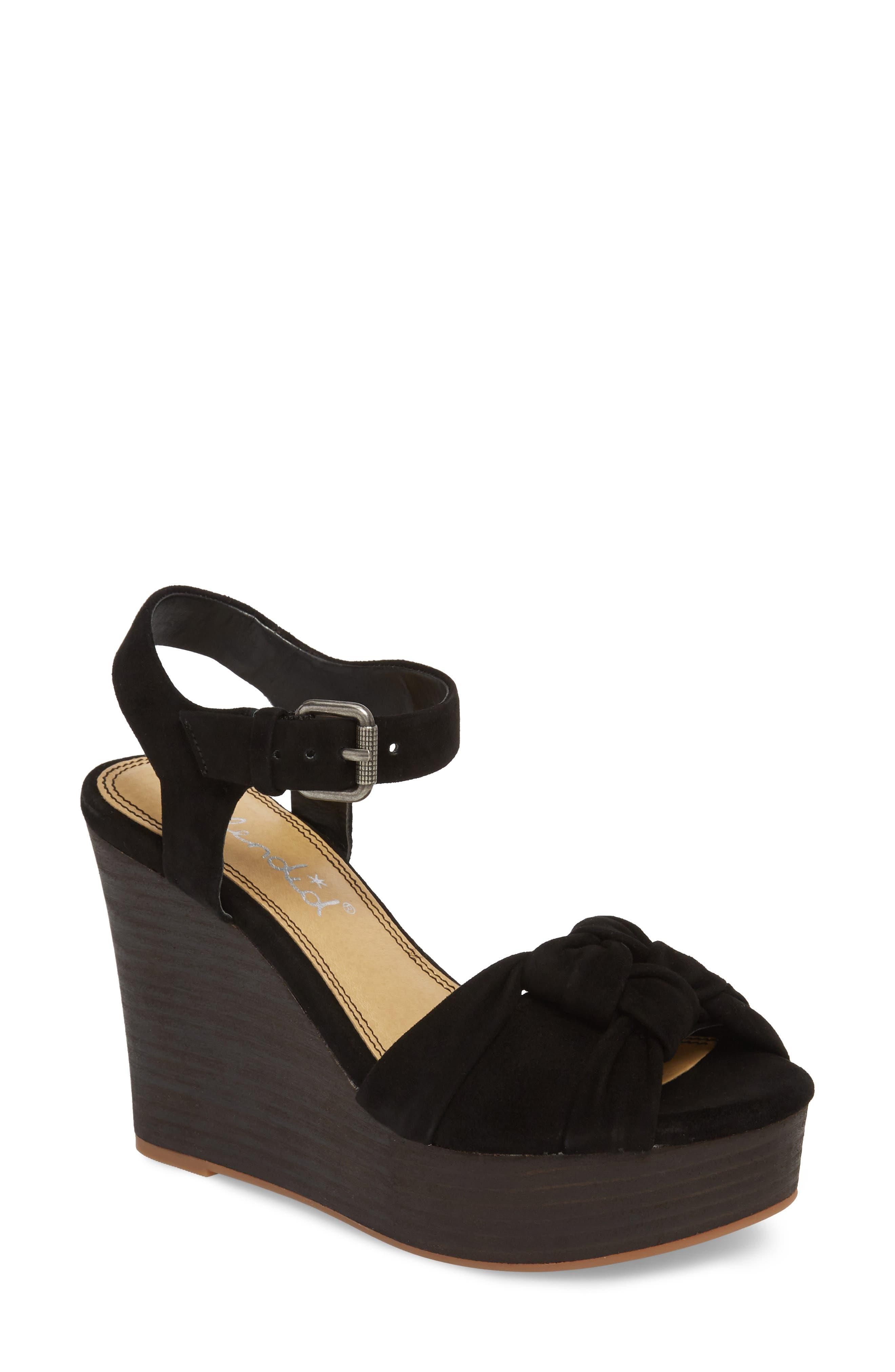 Nada Platform Wedge Sandal,                             Main thumbnail 1, color,                             BLACK SUEDE