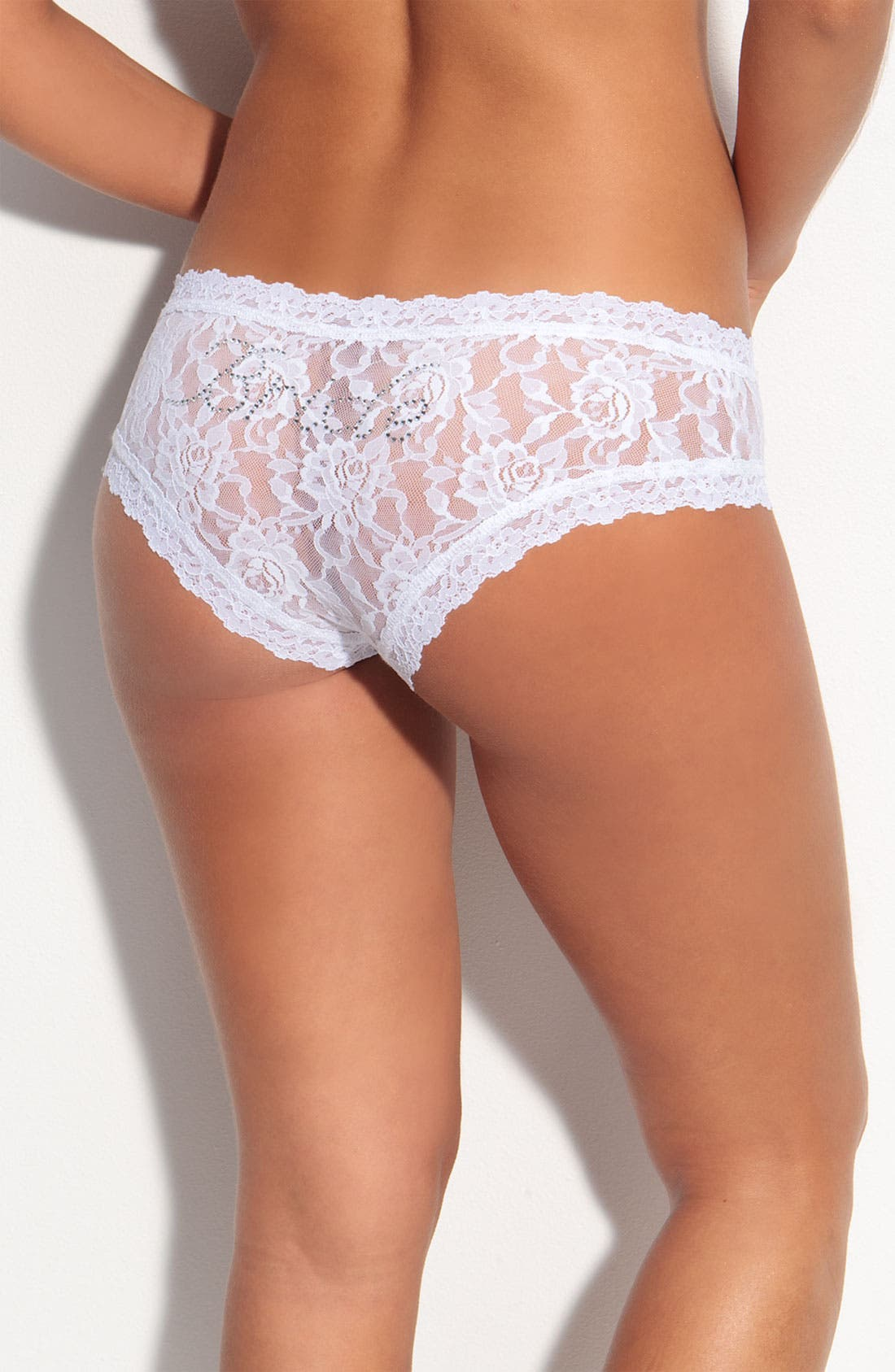 'Bride' Lace Hipster Panties,                         Main,                         color, WHITE