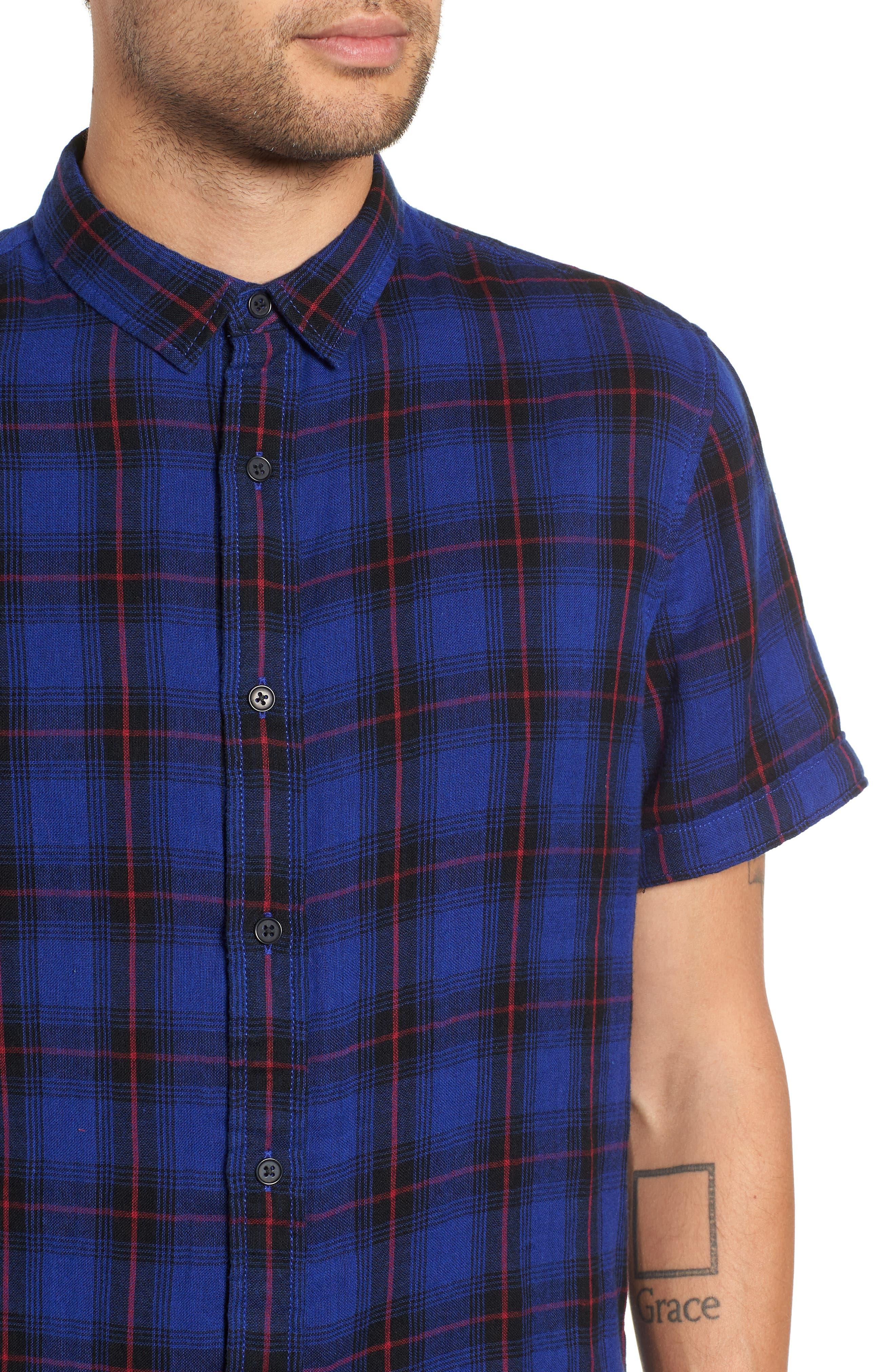Plaid Woven Shirt,                             Alternate thumbnail 4, color,                             BLUE BLACK LUCA PLAID