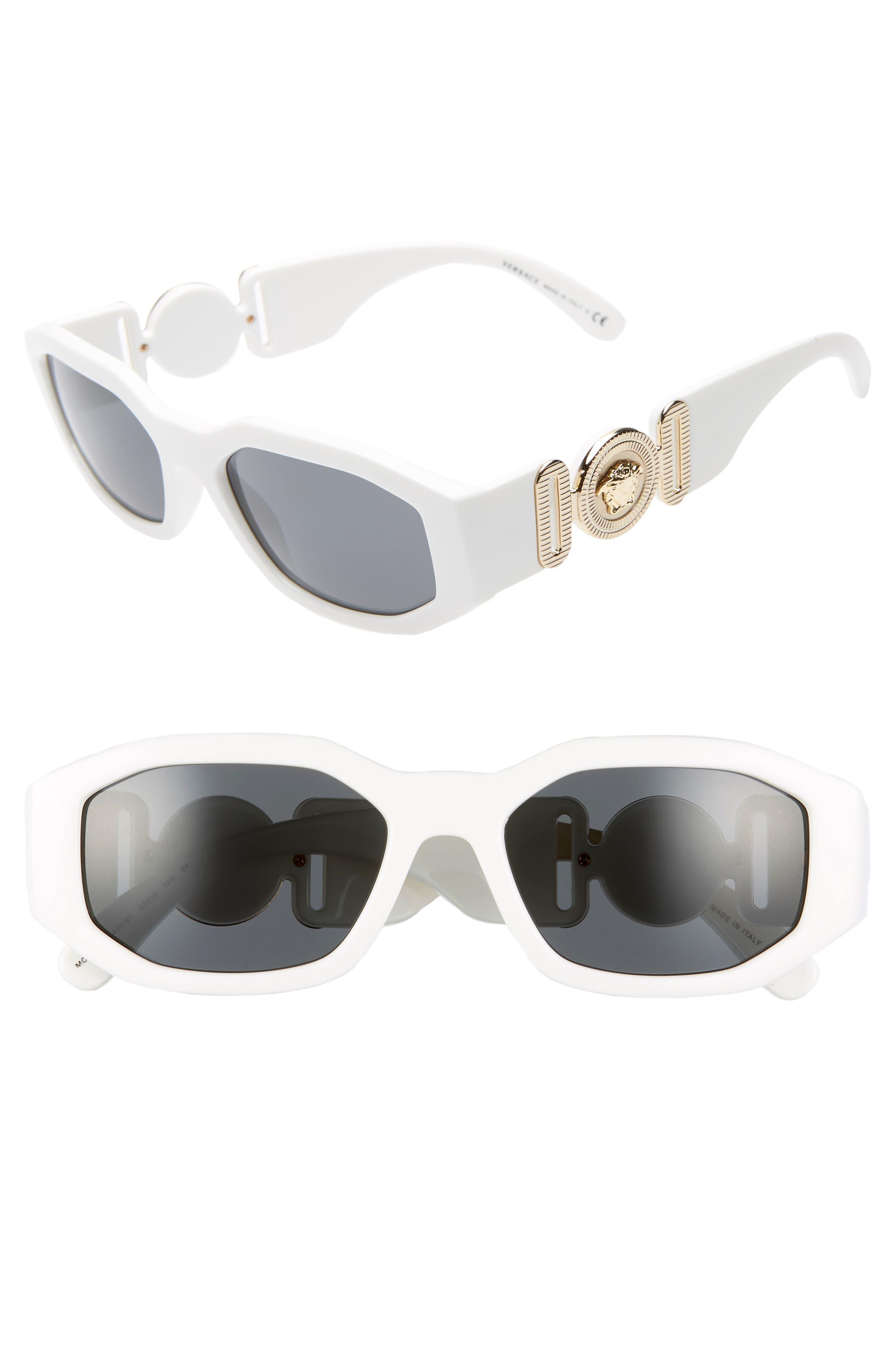 VERSACE,                             53mm Square Sunglasses,                             Main thumbnail 1, color,                             WHITE