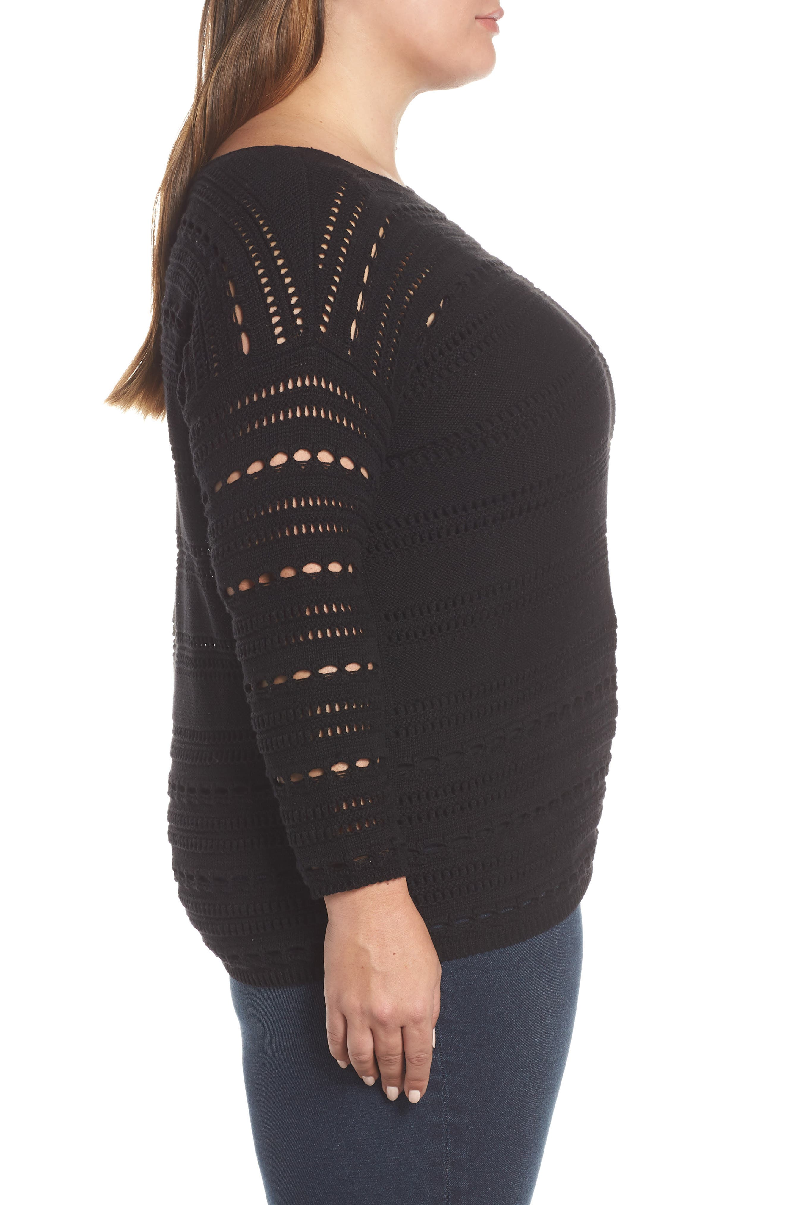 Open Stitch Cotton Sweater,                             Alternate thumbnail 3, color,                             RICH BLACK