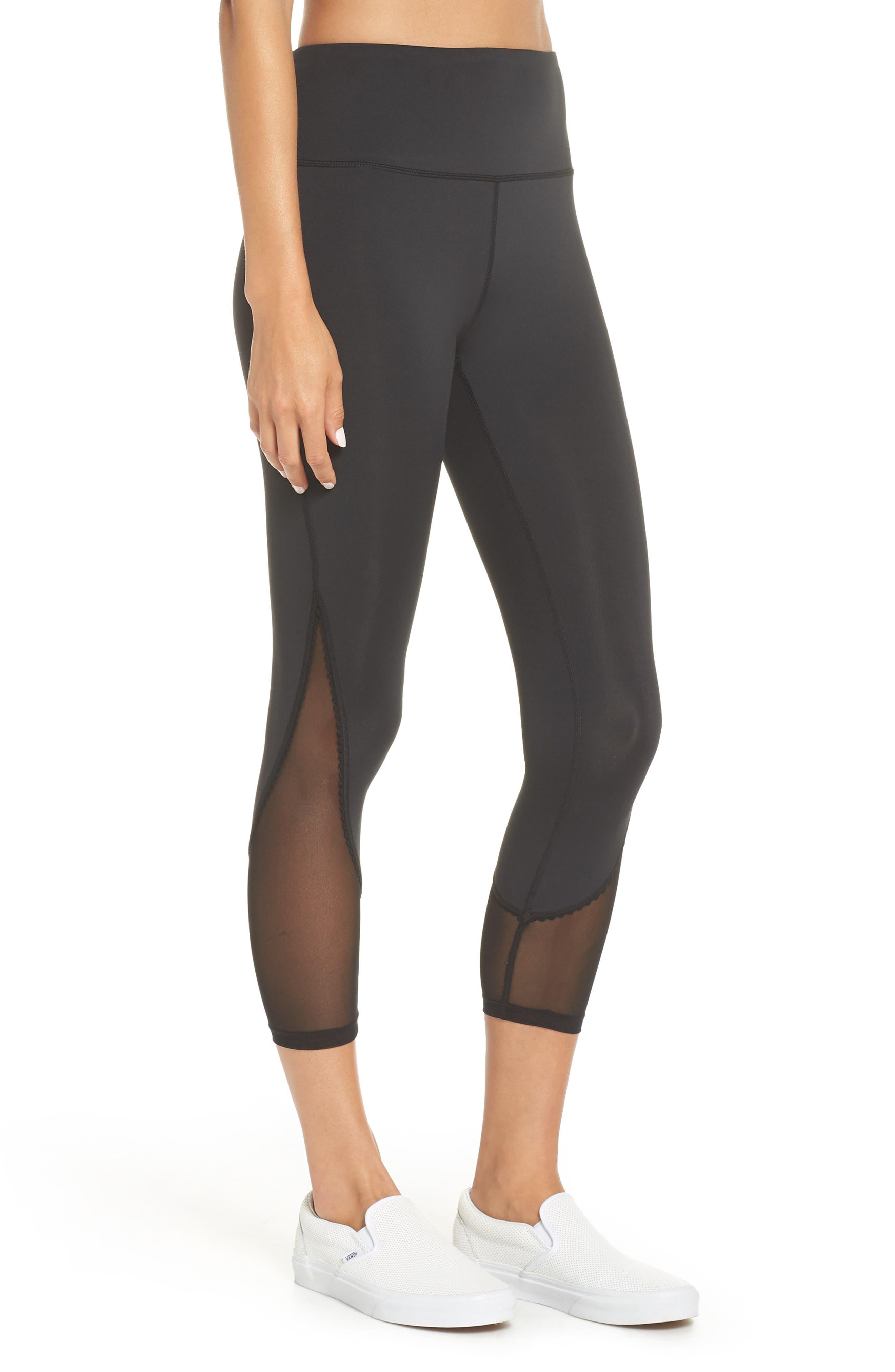 micro mesh leggings,                             Alternate thumbnail 3, color,                             BLACK