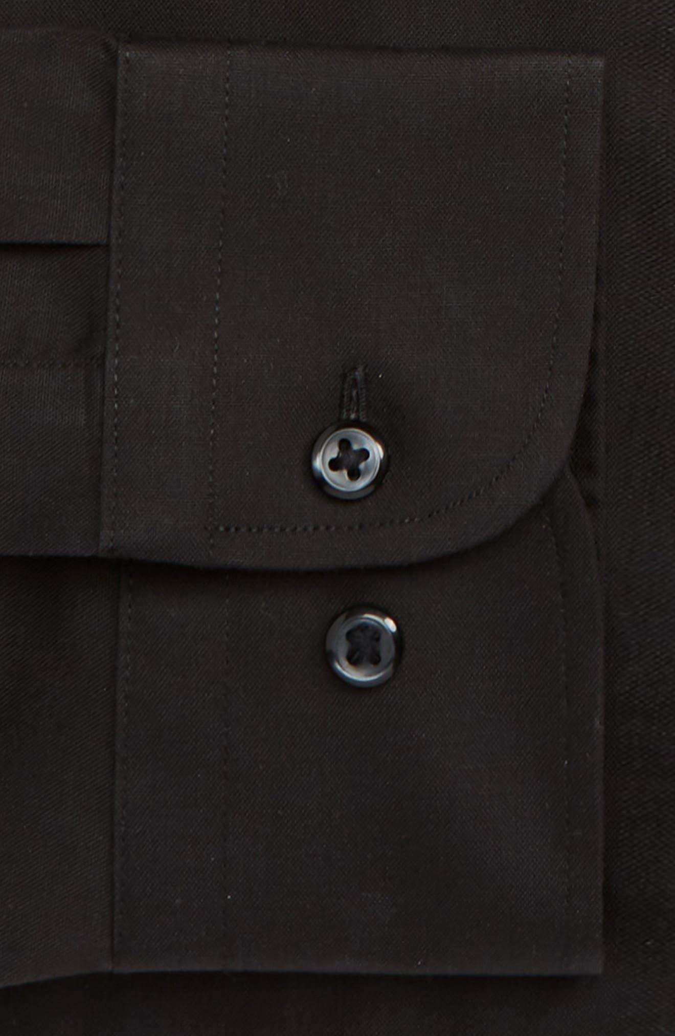 NORDSTROM MEN'S SHOP,                             Extra Trim Fit Non-Iron Solid Dress Shirt,                             Alternate thumbnail 6, color,                             BLACK ROCK