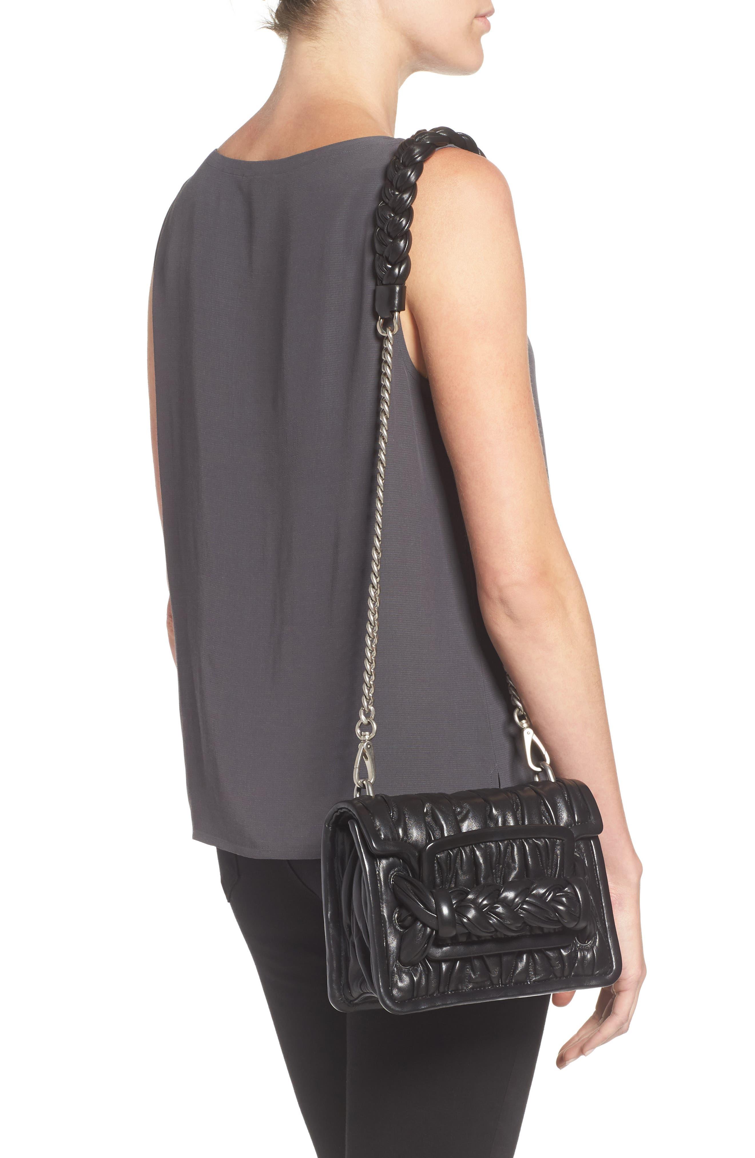 Matelassé Leather Shoulder Bag,                             Alternate thumbnail 2, color,                             001