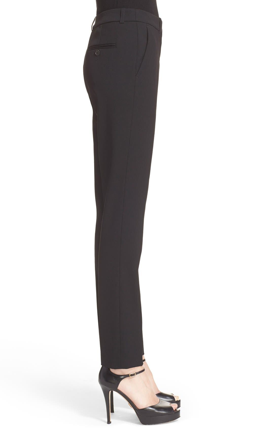 'Samantha' Stretch Wool Straight Leg Pants,                             Alternate thumbnail 3, color,                             BLACK