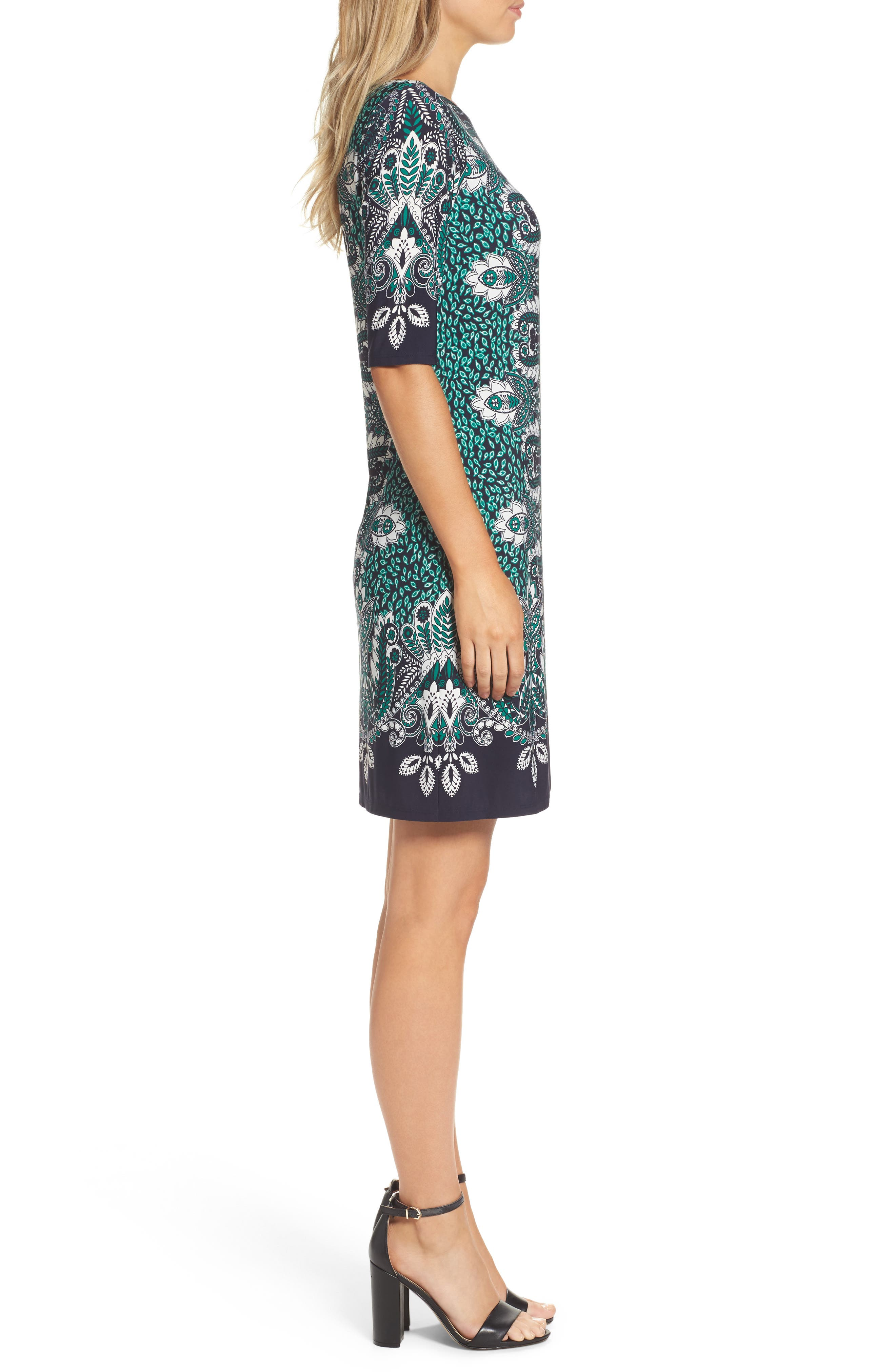 Print Elbow Sleeve Shift Dress,                             Alternate thumbnail 3, color,                             404