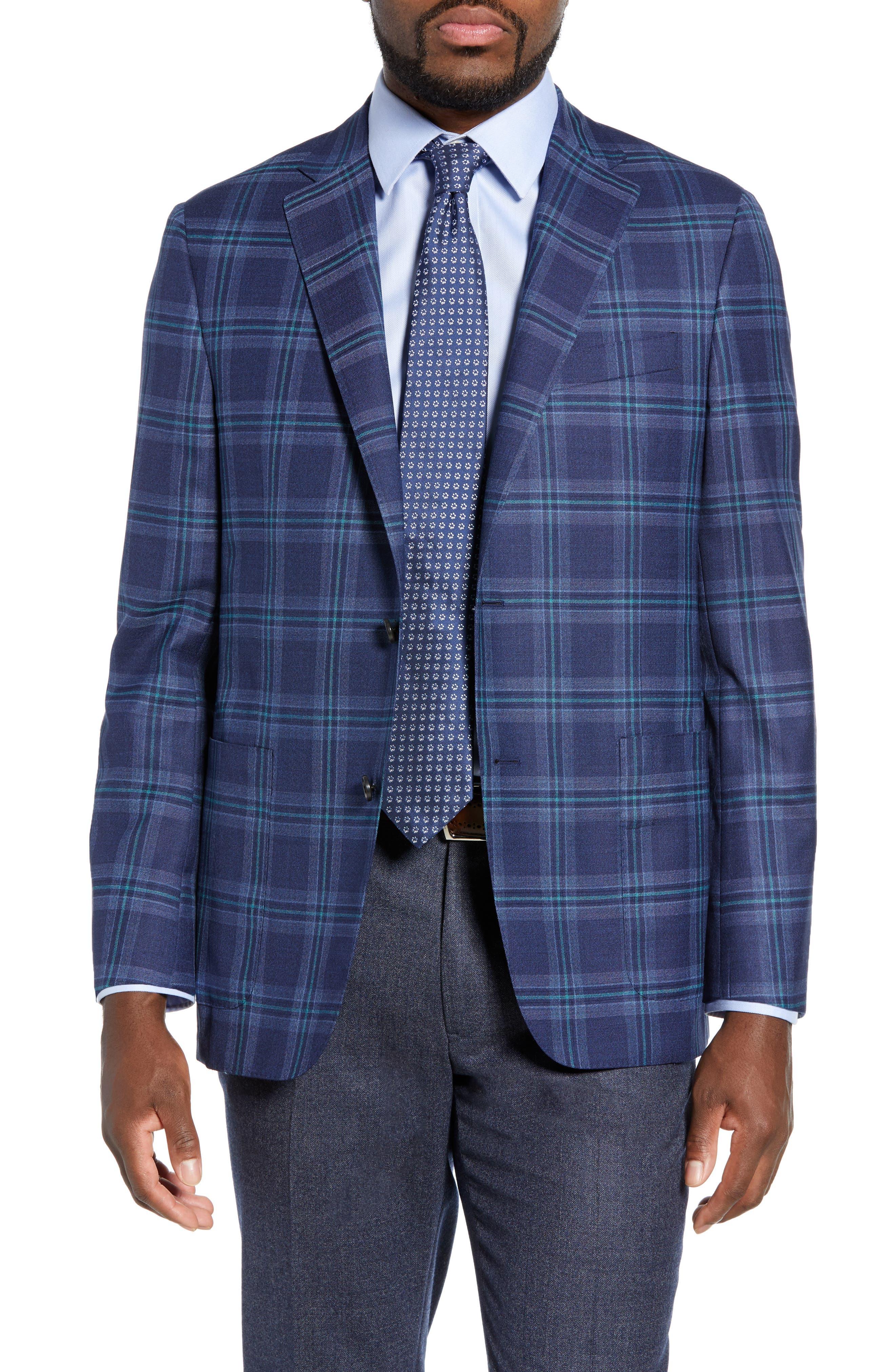 Classic B Fit Plaid Wool Sport Coat,                             Main thumbnail 1, color,                             BLUE
