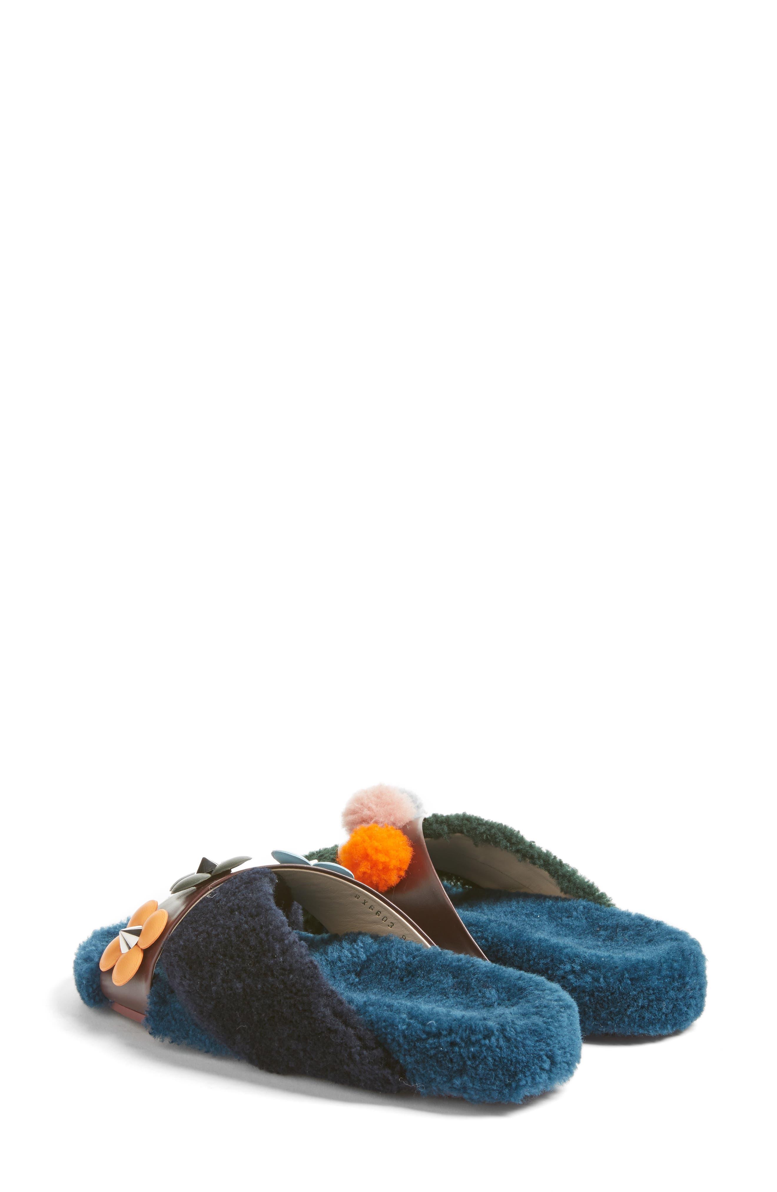 Genuine Shearling Slide Sandal,                             Alternate thumbnail 2, color,                             002