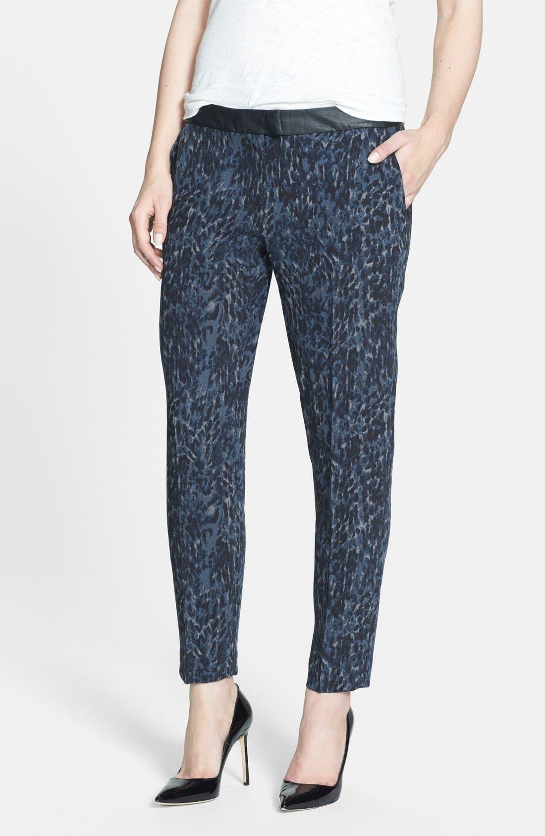 Faux Leather Trim Print Pants,                         Main,                         color, 420
