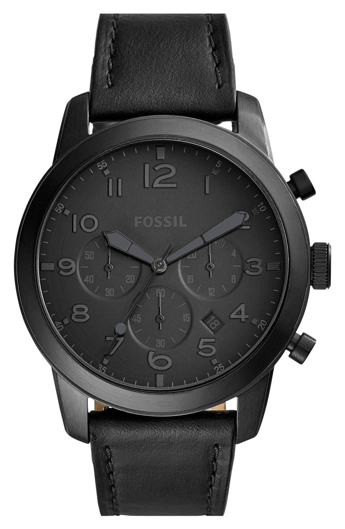 'Pilot 54' Chronograph Leather Strap Watch, 44mm,                             Main thumbnail 1, color,                             001