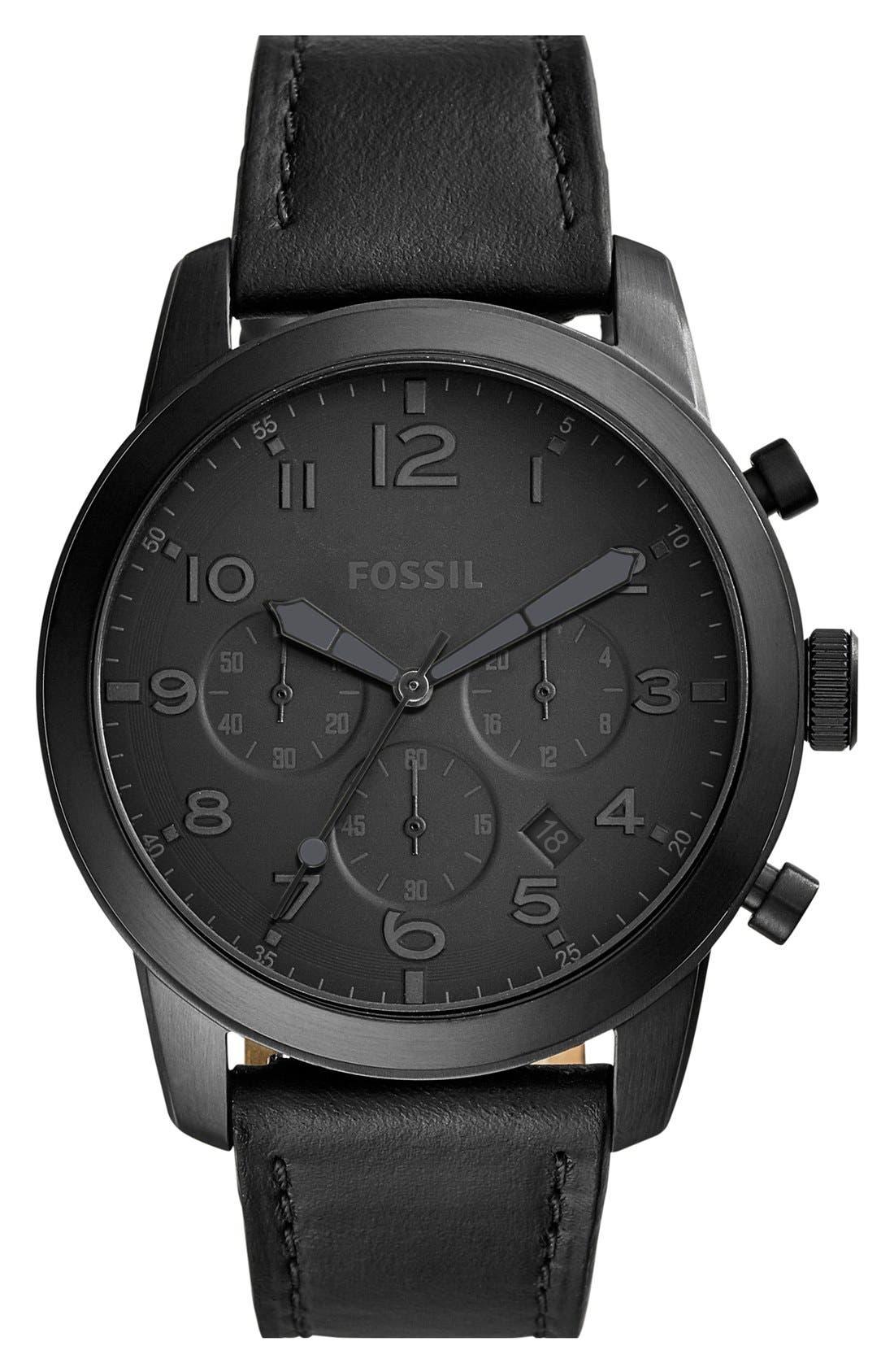 'Pilot 54' Chronograph Leather Strap Watch, 44mm, Main, color, 001