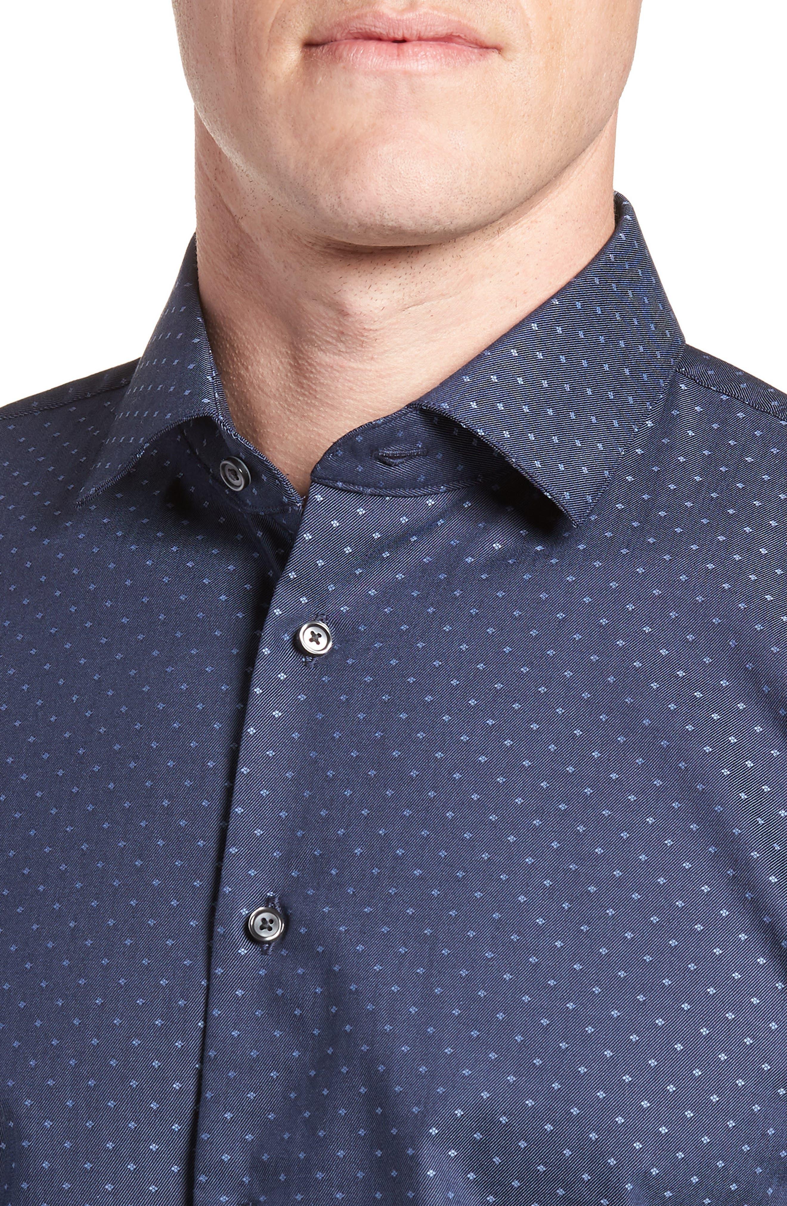 Trim Fit Jacquard Dress Shirt,                             Alternate thumbnail 2, color,                             410