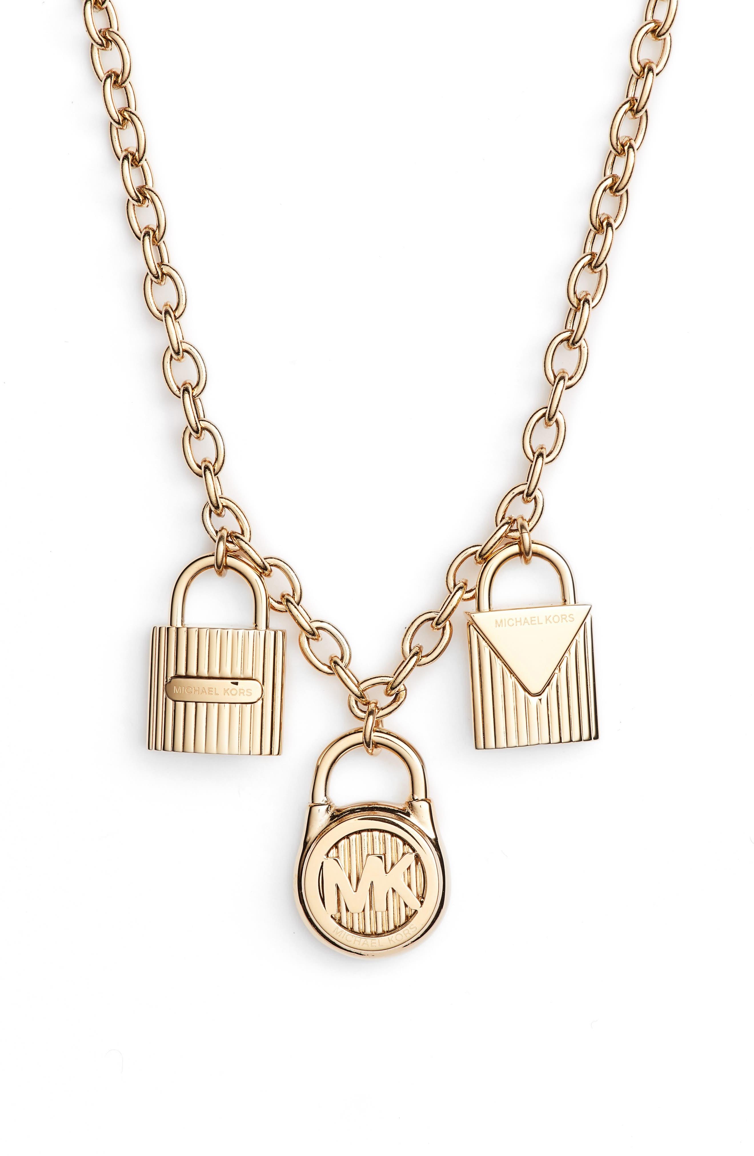 Padlock Charm Pendant Necklace,                         Main,                         color, 710