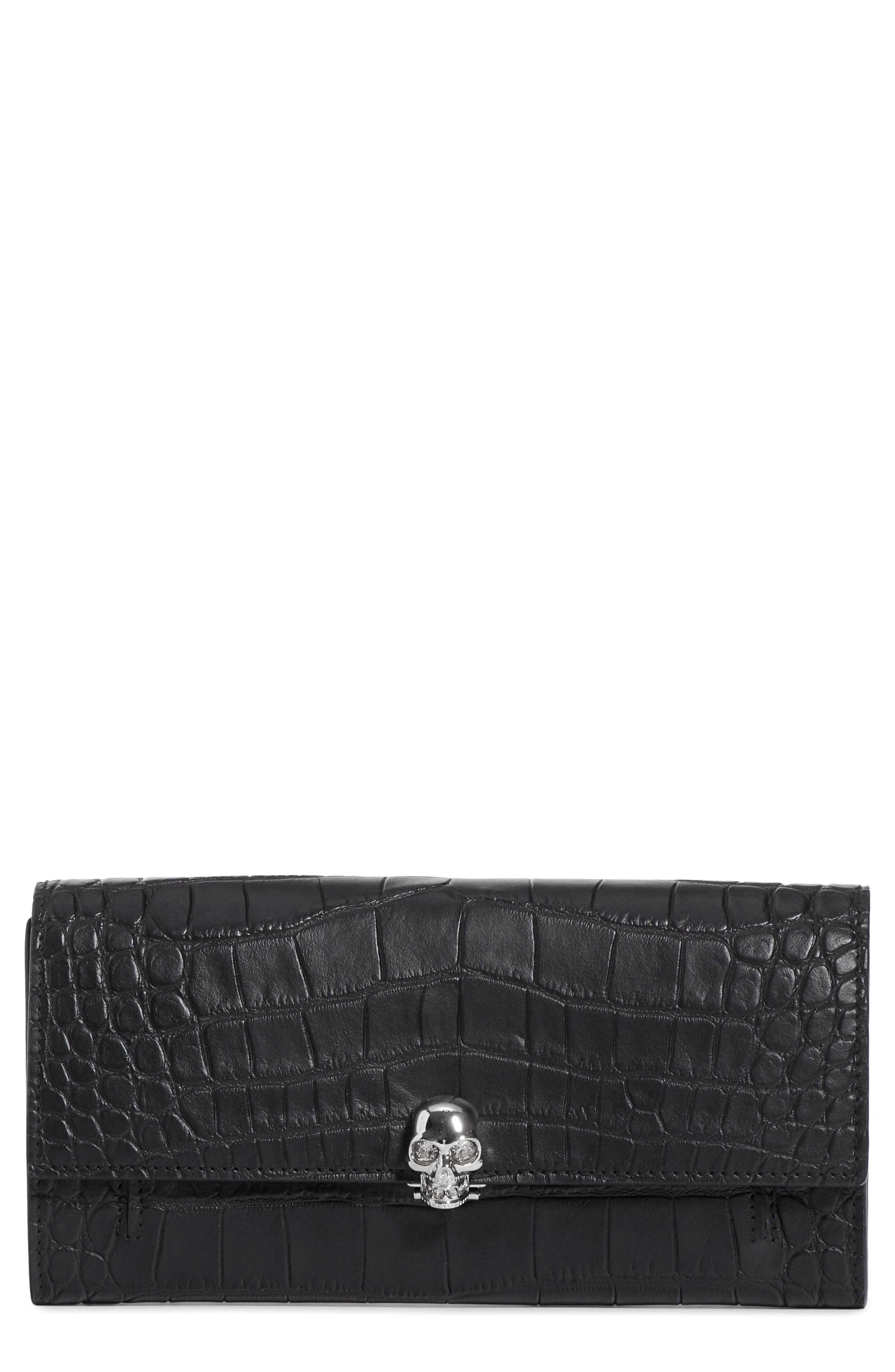 Skull Croc Embossed Leather Wallet on a Chain,                         Main,                         color, BLACK