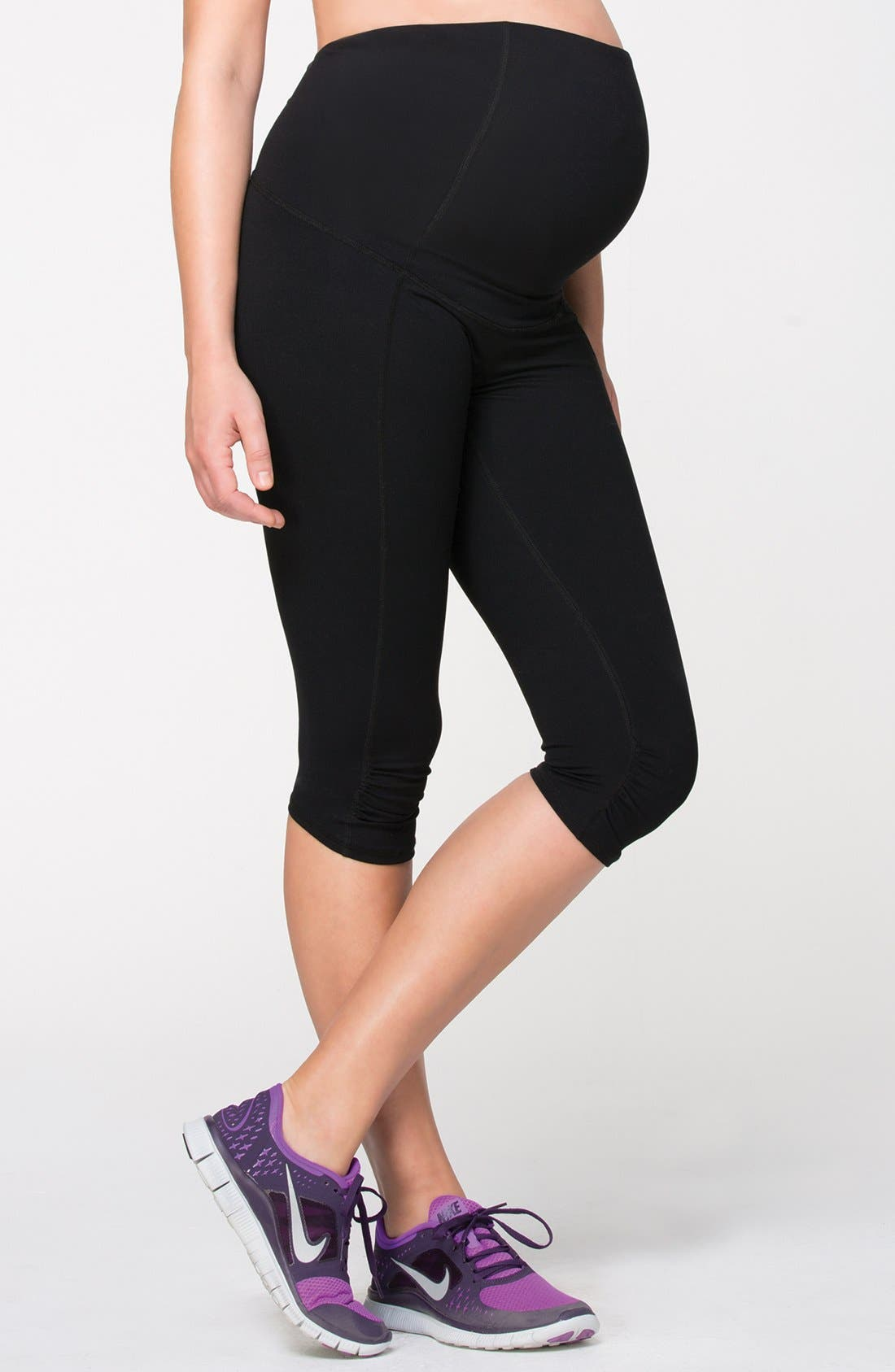 Knee Length Active Maternity Pants with Crossover Panel,                         Main,                         color, JET BLACK