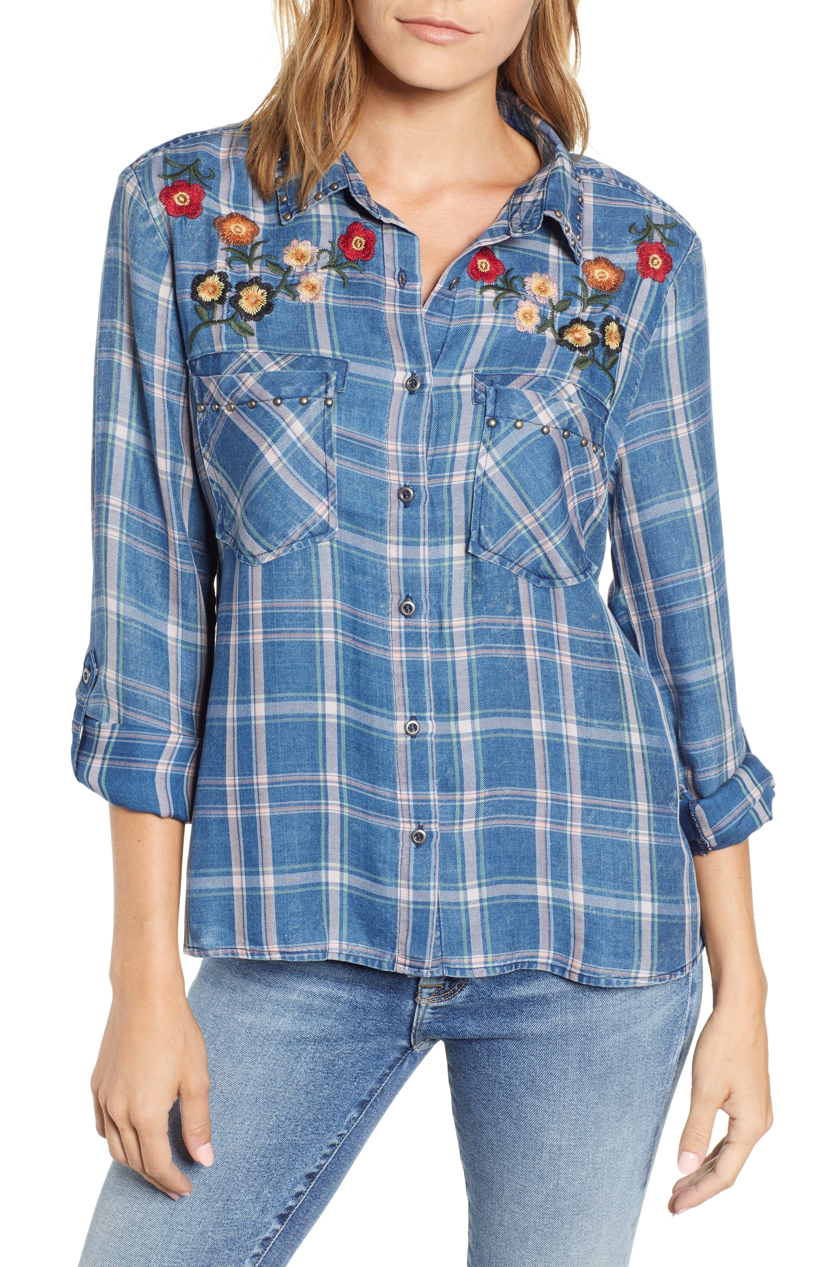 BILLY T Embroidered Plaid Roll Tab Shirt in Regal W/ Embroidery