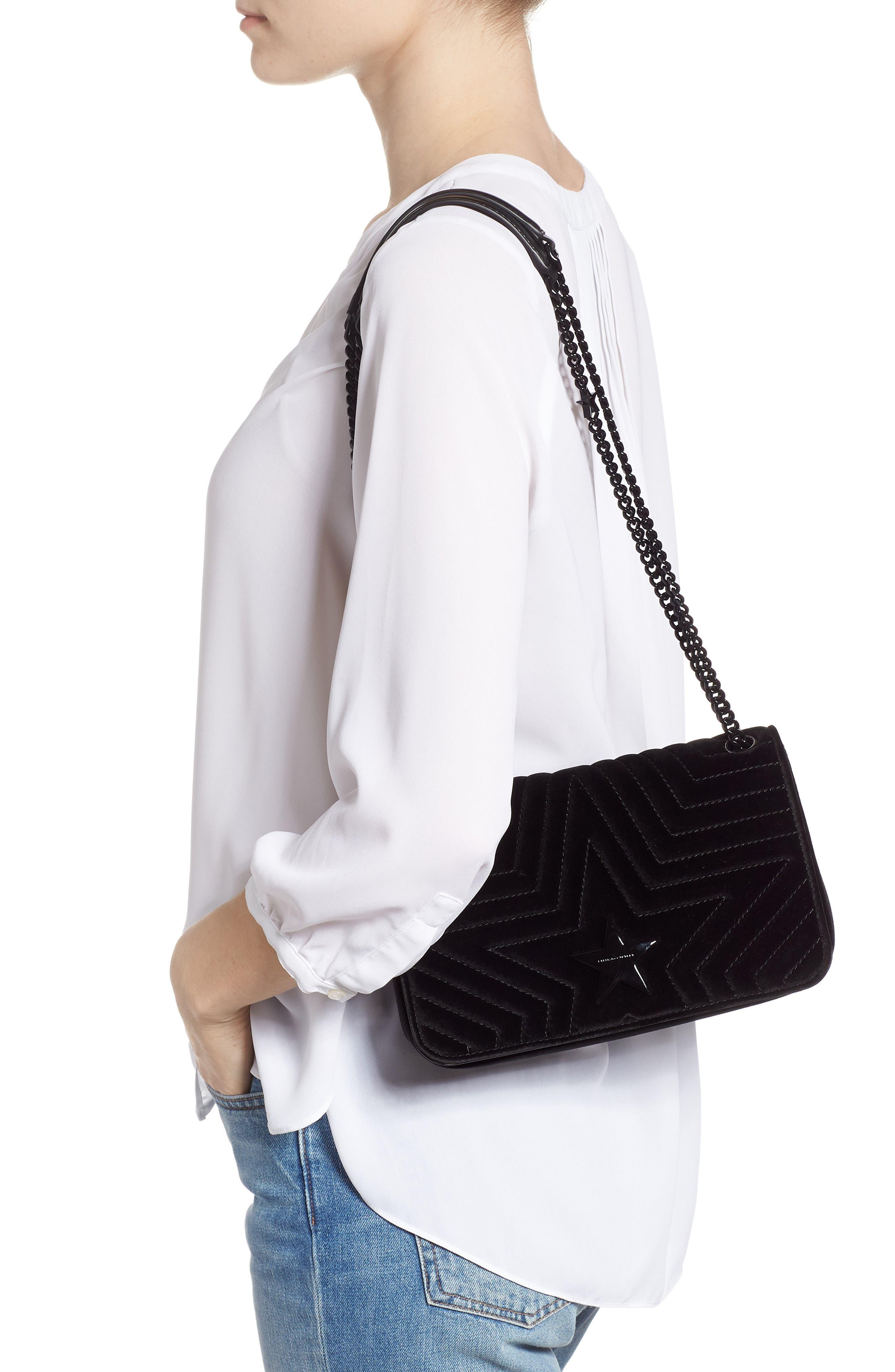 Medium Velvet Star Shoulder Bag,                             Alternate thumbnail 2, color,                             BLACK