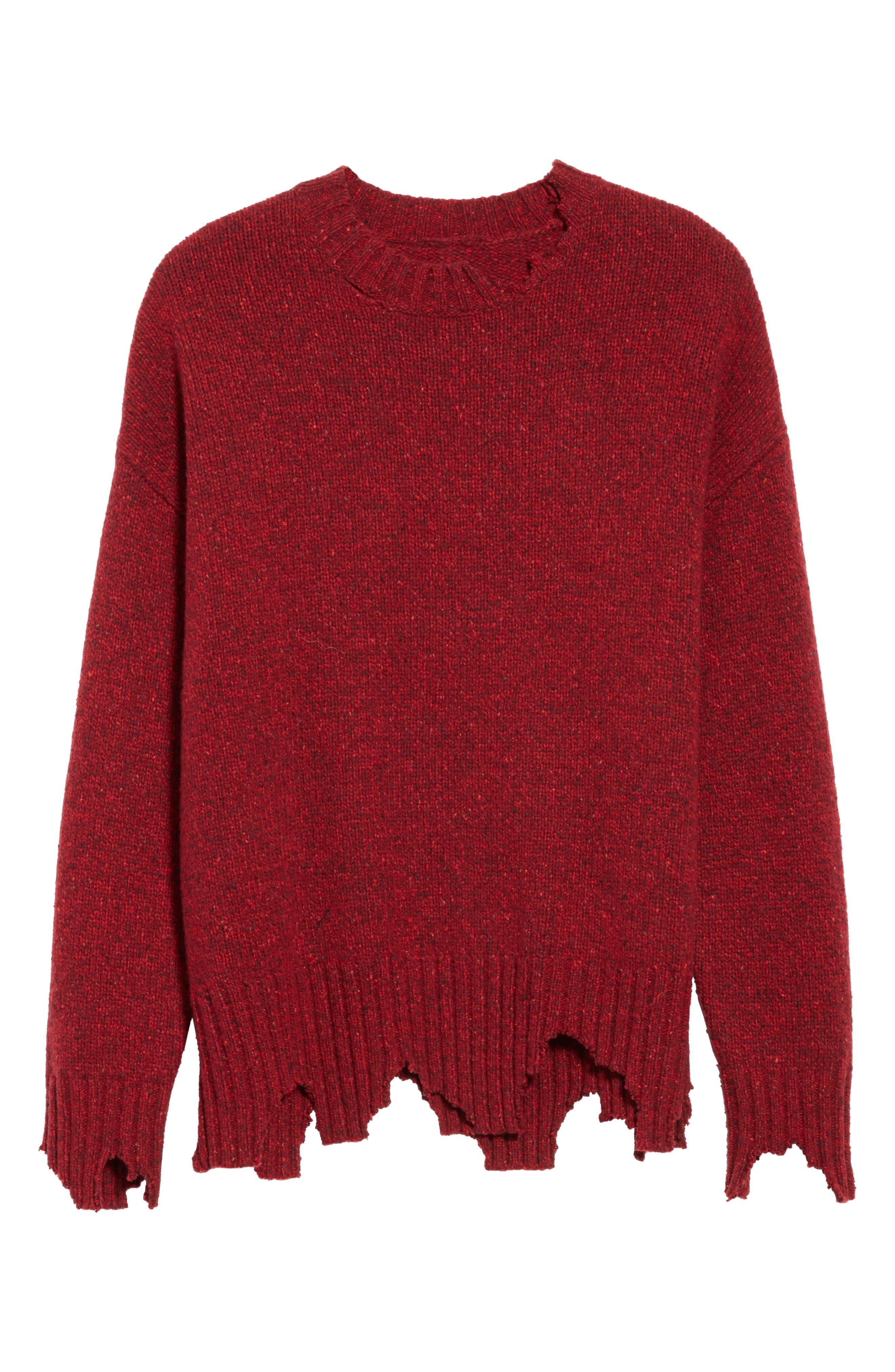 Destroyed Crewneck Sweater,                             Alternate thumbnail 6, color,                             600