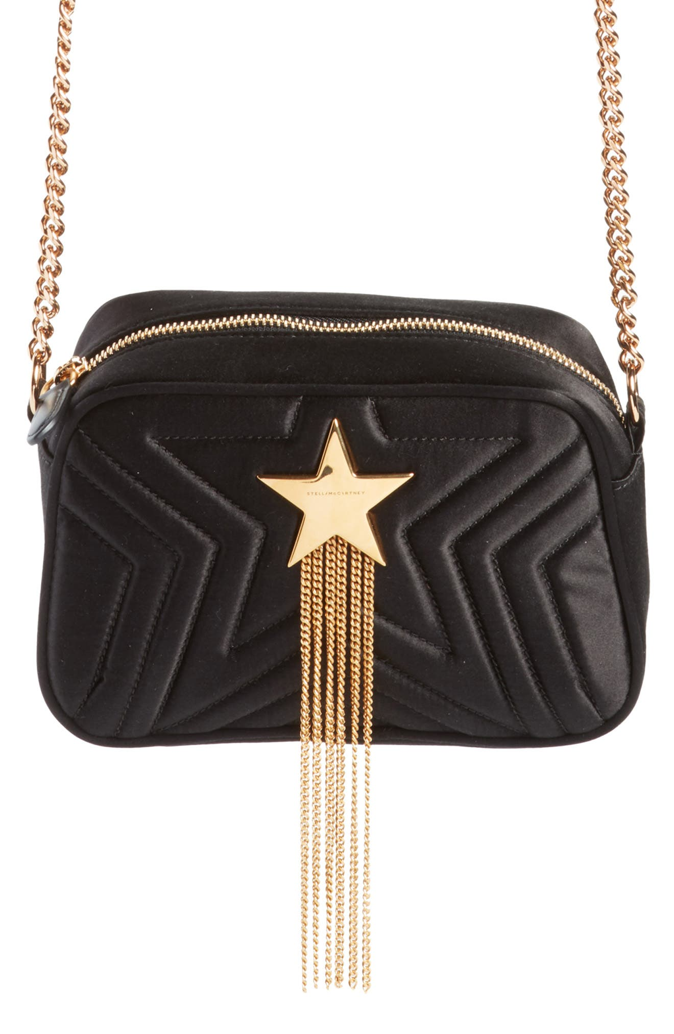 Mini Star Quilted Satin Camera Bag,                         Main,                         color, 001