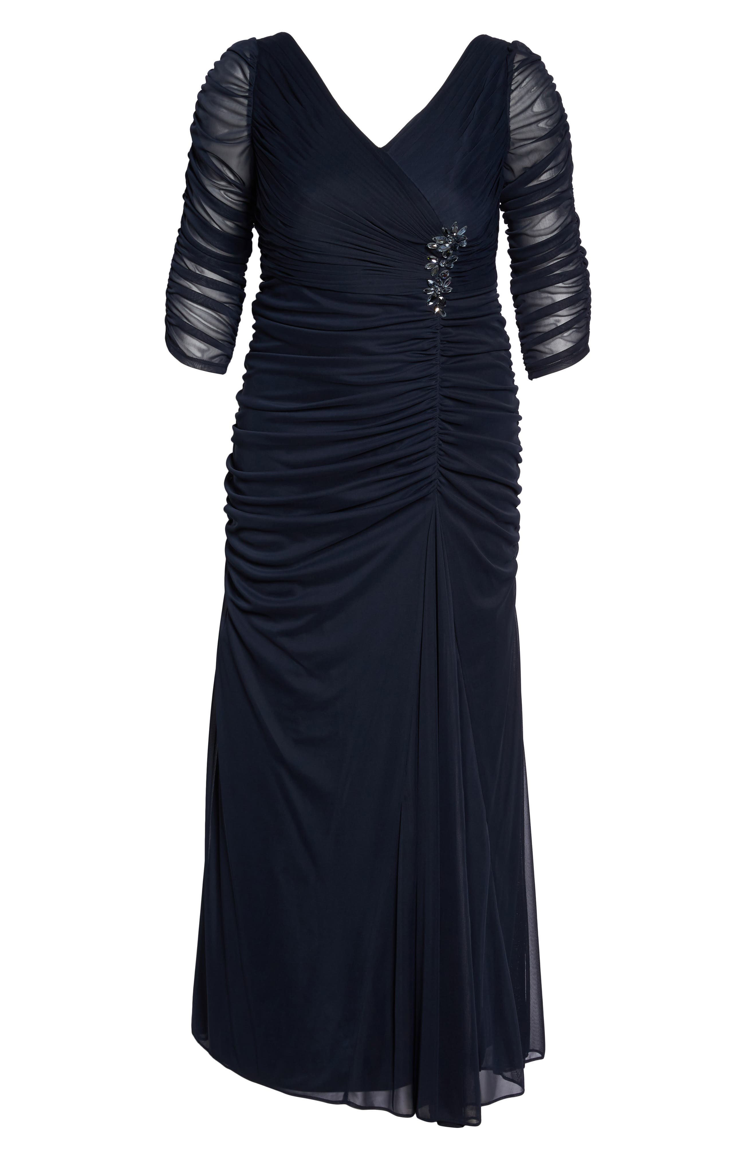 Beaded Mesh Gown,                             Alternate thumbnail 8, color,                             INK