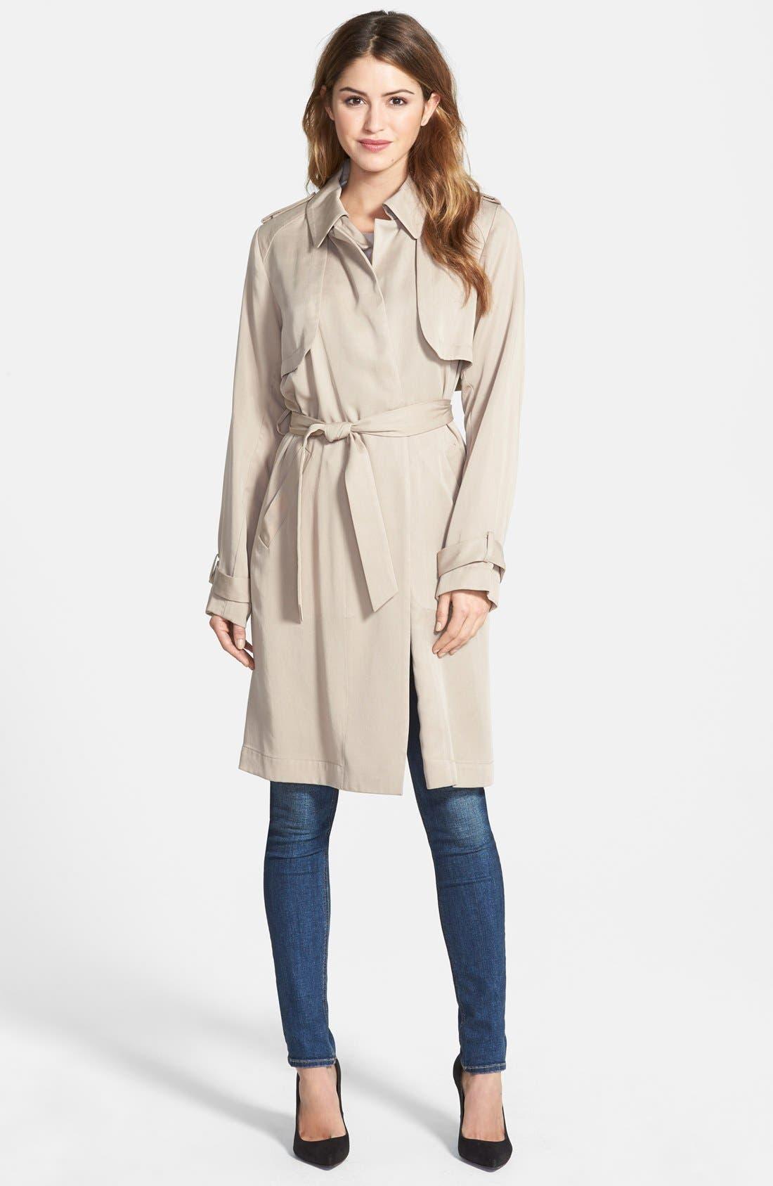 Draped Wrap Long Trench Coat,                         Main,                         color, 250