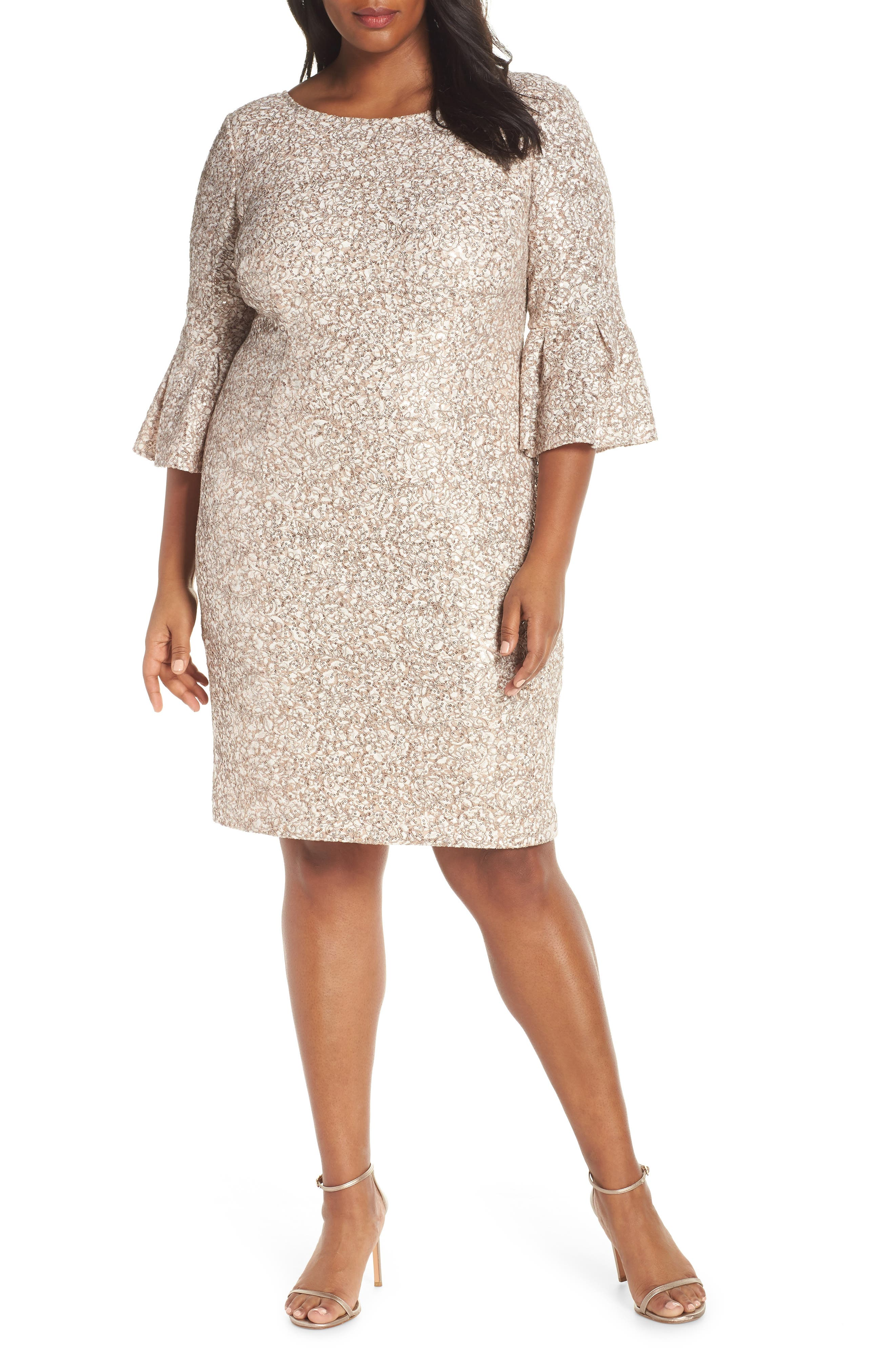 Embroidered Lace Shift Dress,                             Main thumbnail 1, color,                             CHAMPAGNE/ IVORY