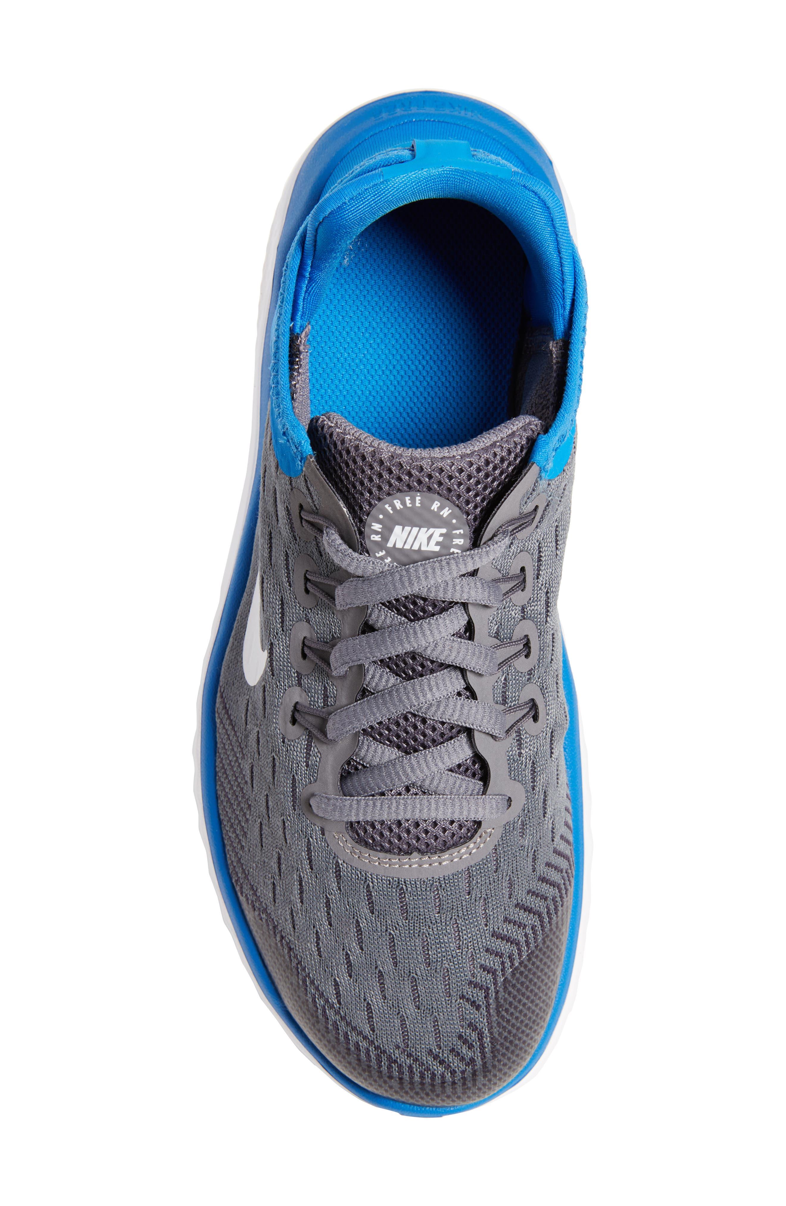 Free RN 2018 Running Shoe,                             Alternate thumbnail 5, color,                             GREY/WHITE/BLUE